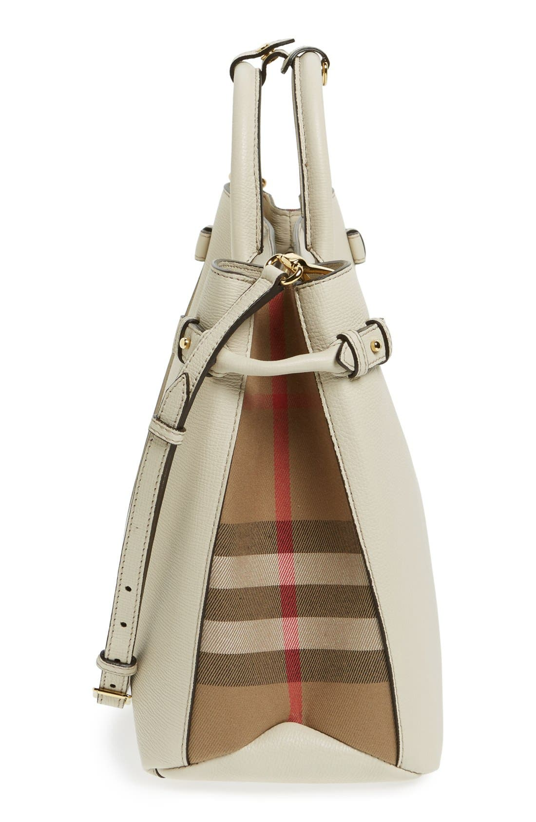 'Large Banner - Derby' House Check Calfskin Leather Tote,                             Alternate thumbnail 5, color,                             101