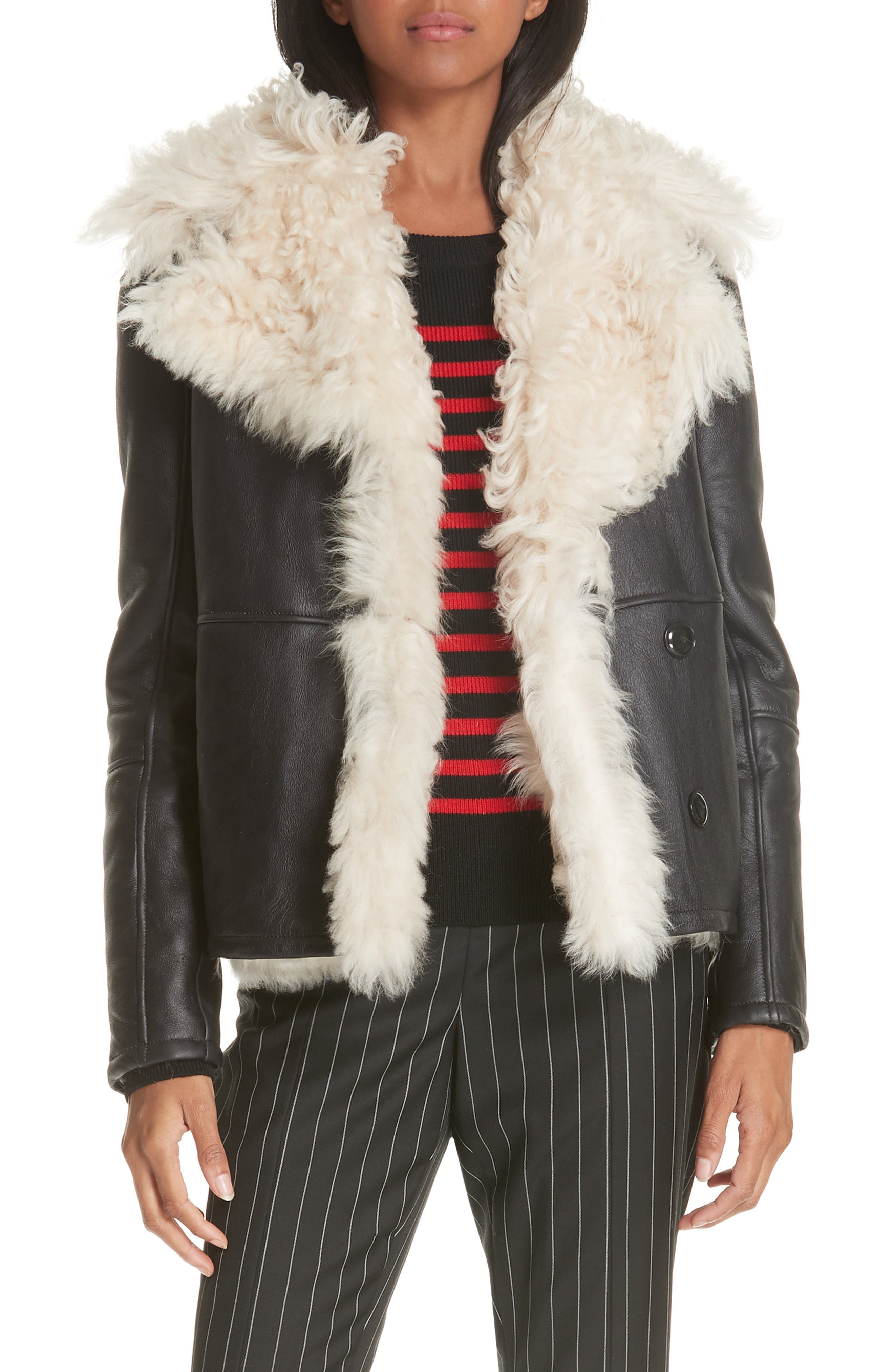 Frame Genuine Shearling Jacket, Black