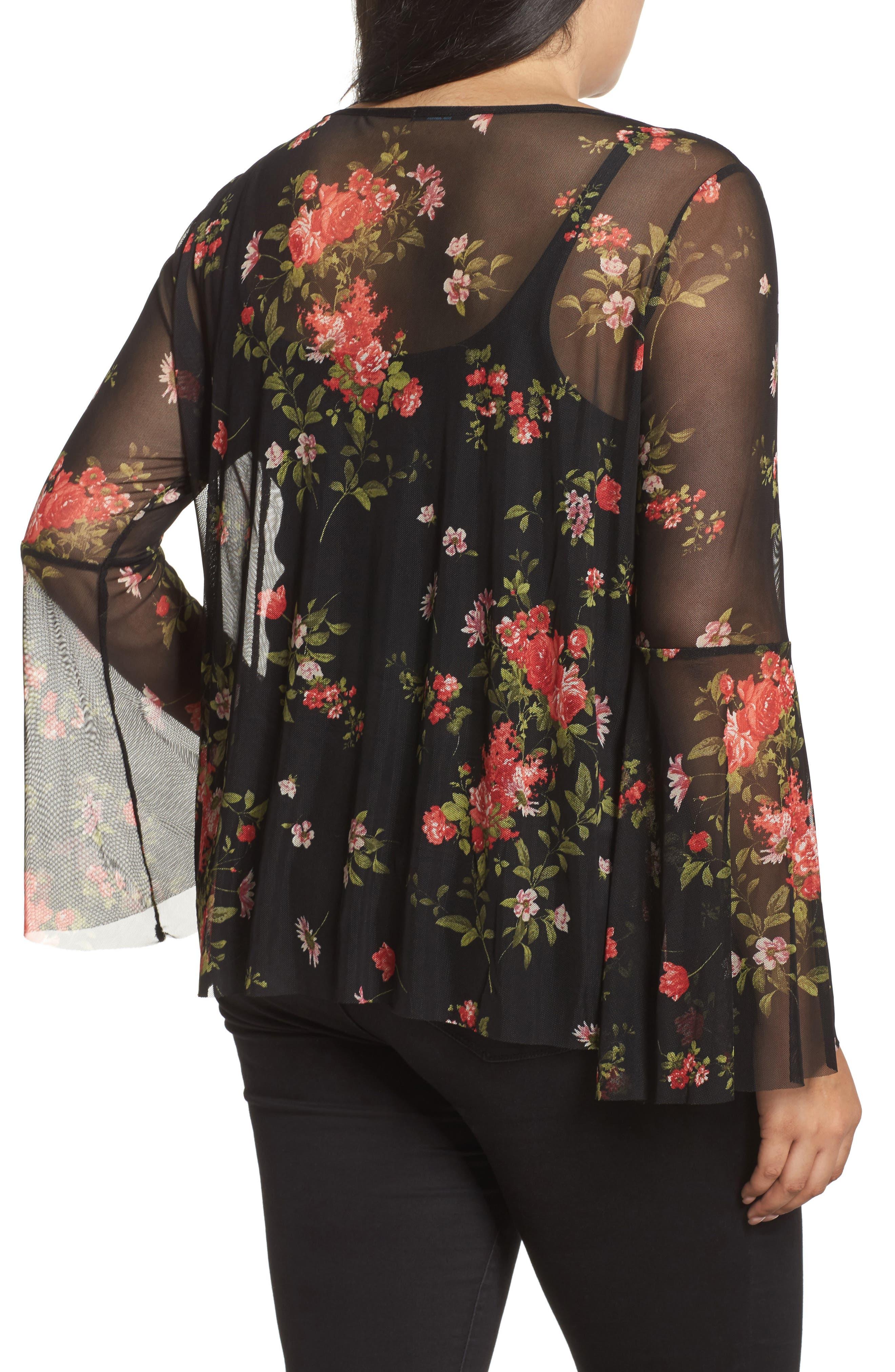 Floral Mesh Top,                             Alternate thumbnail 2, color,                             001