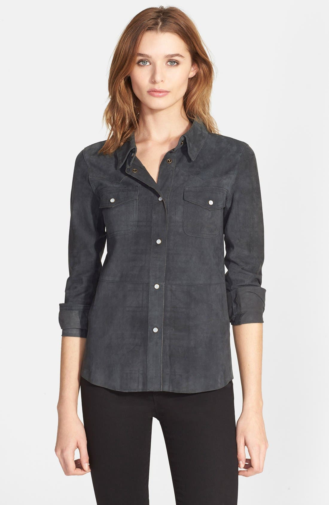 Suede Western Shirt,                             Main thumbnail 1, color,                             024