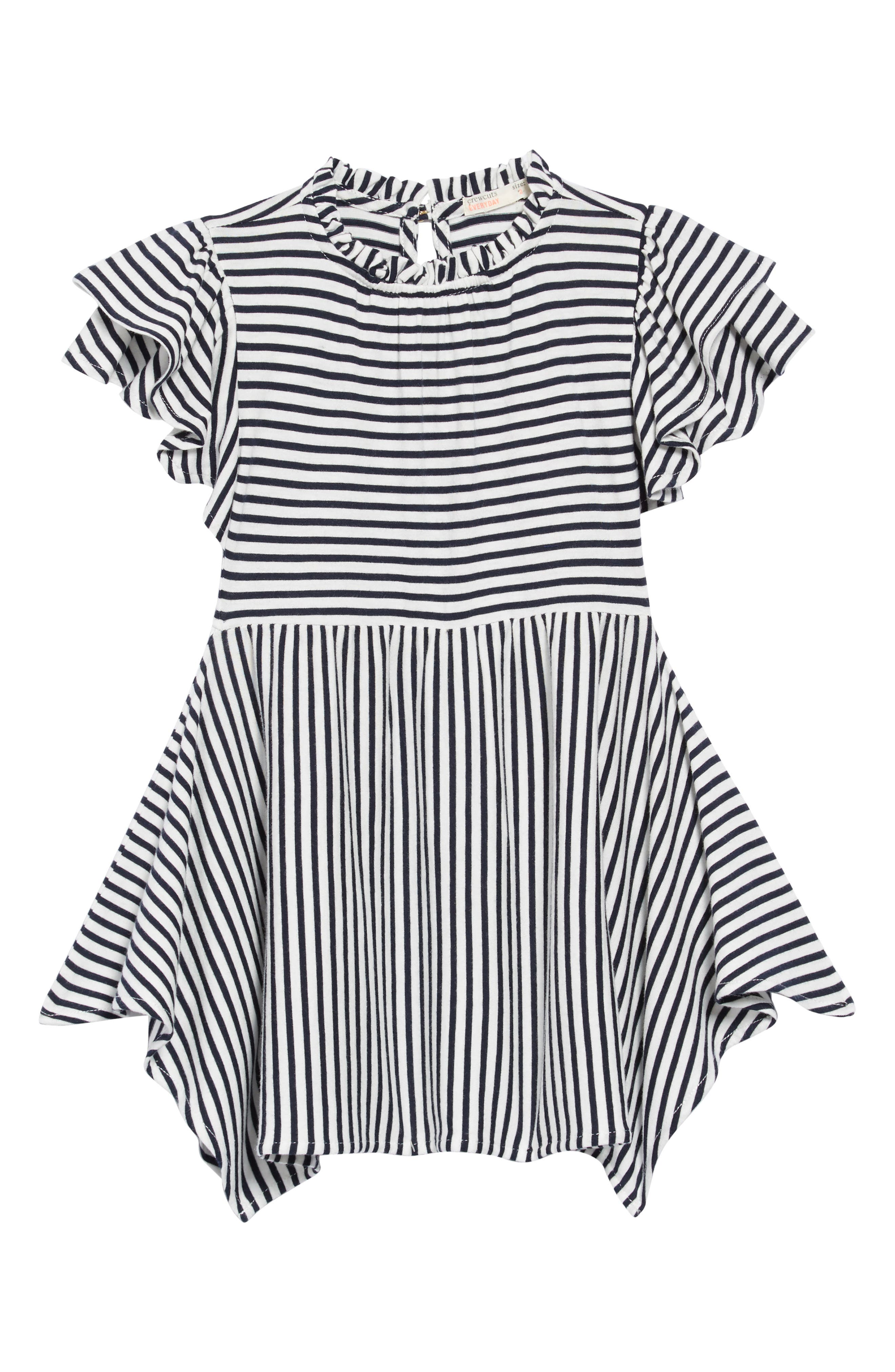 crewcuts by J. Crew Flutter Sleeve Dress,                             Main thumbnail 1, color,                             NAVY /WHITE