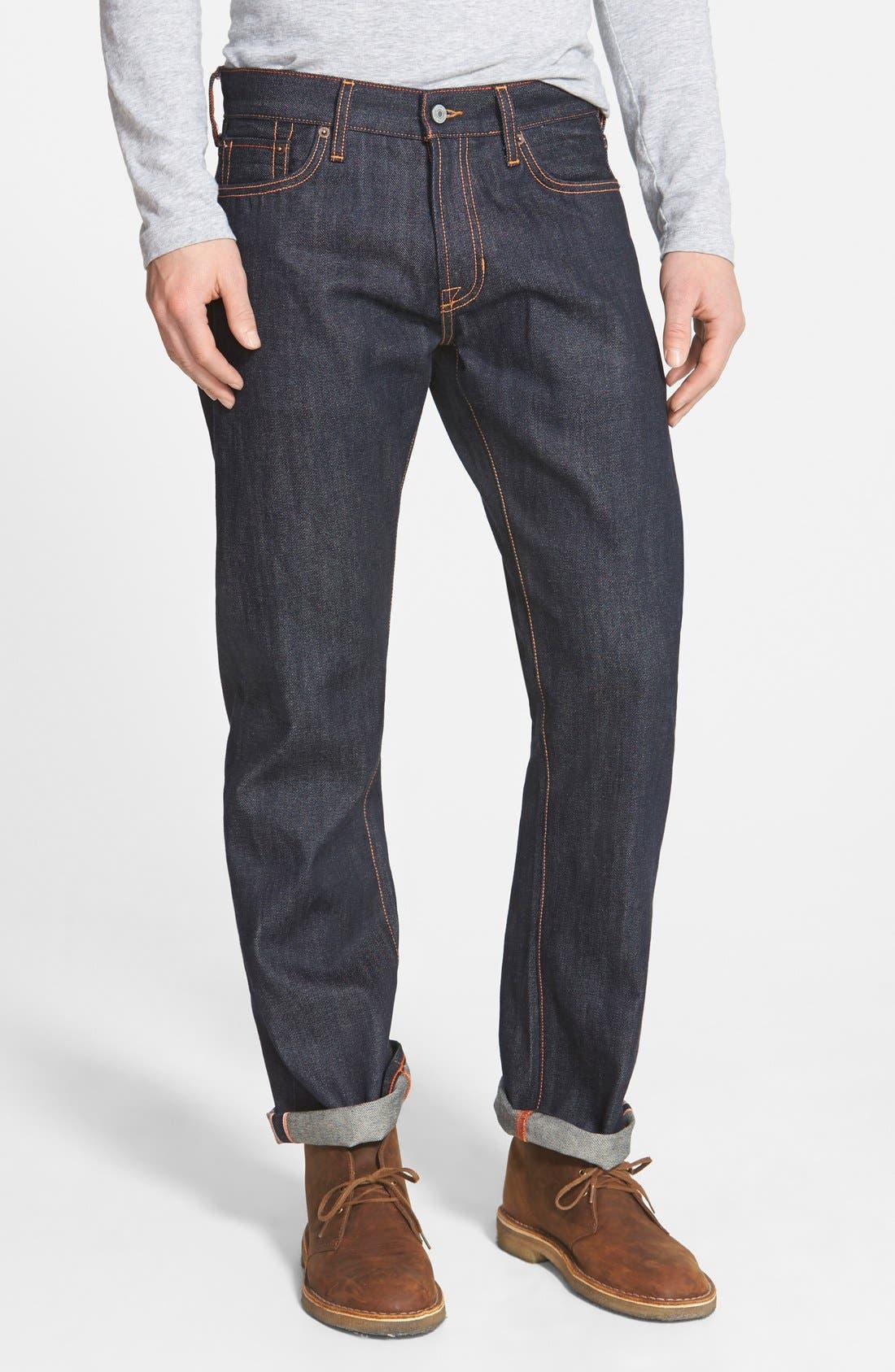 'Rocker' Straight Leg Selvedge Jeans,                             Main thumbnail 1, color,                             419