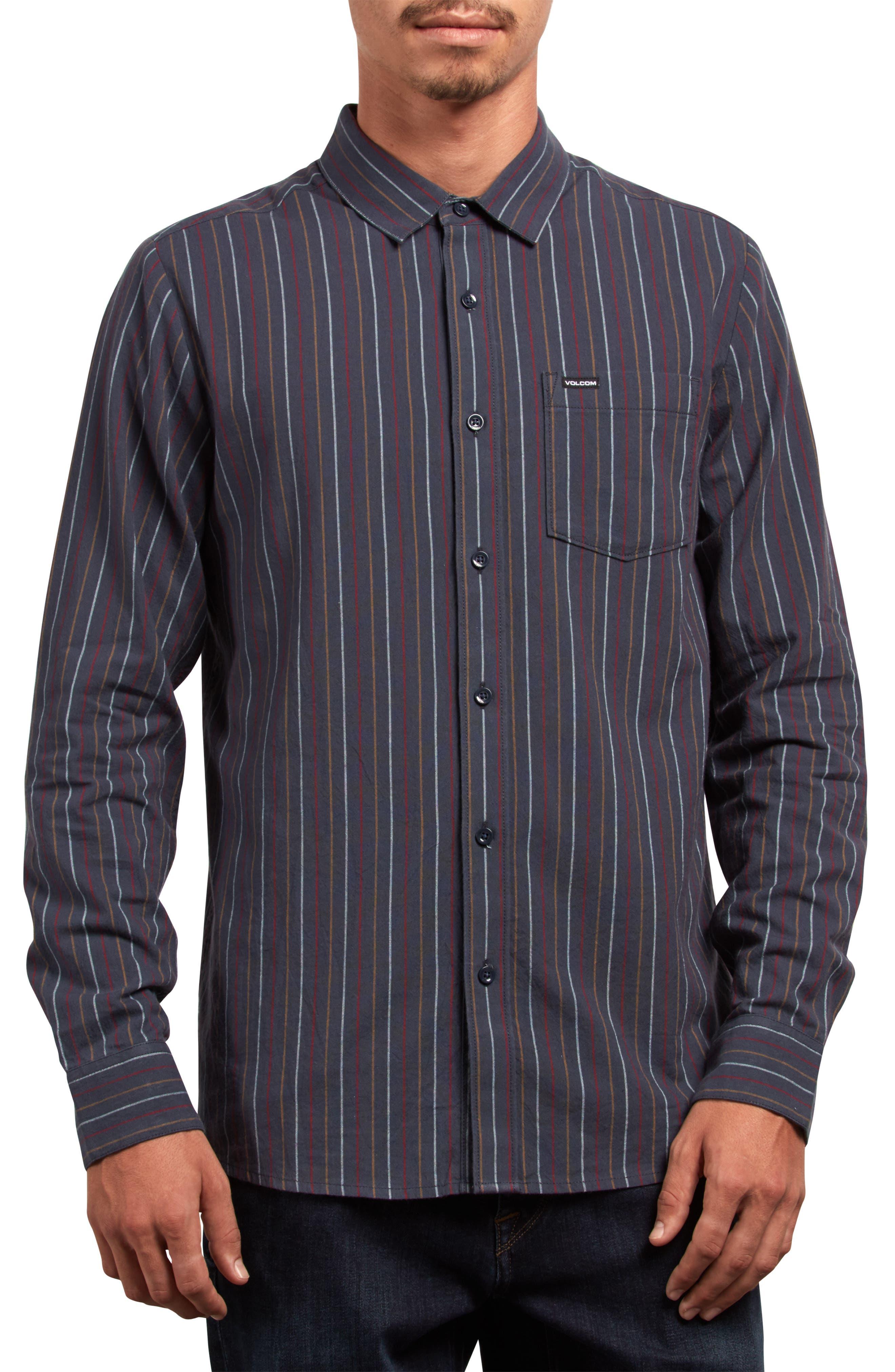 Toner Stripe Woven Shirt,                         Main,                         color, MEDIUM BLUE