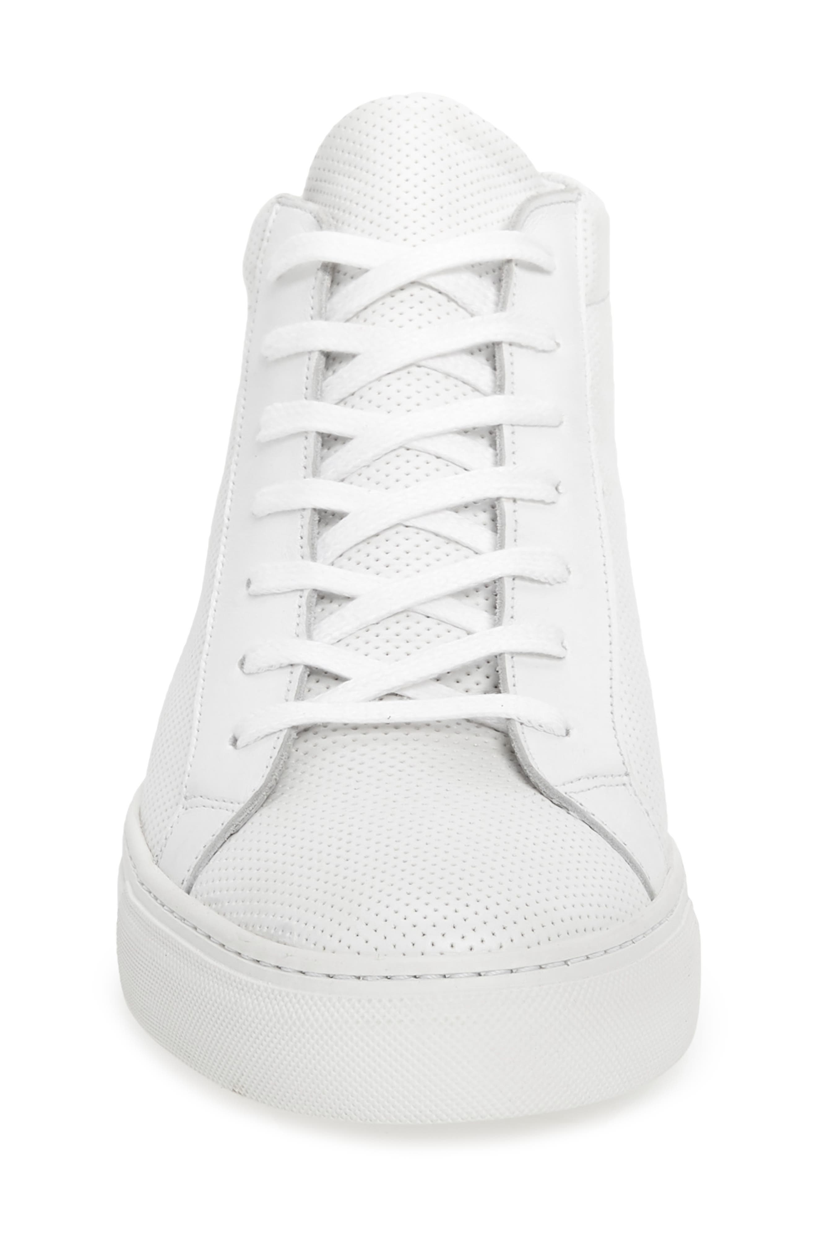 Deacon Mid Sneaker,                             Alternate thumbnail 4, color,                             WHITE PERFORATED LEATHER