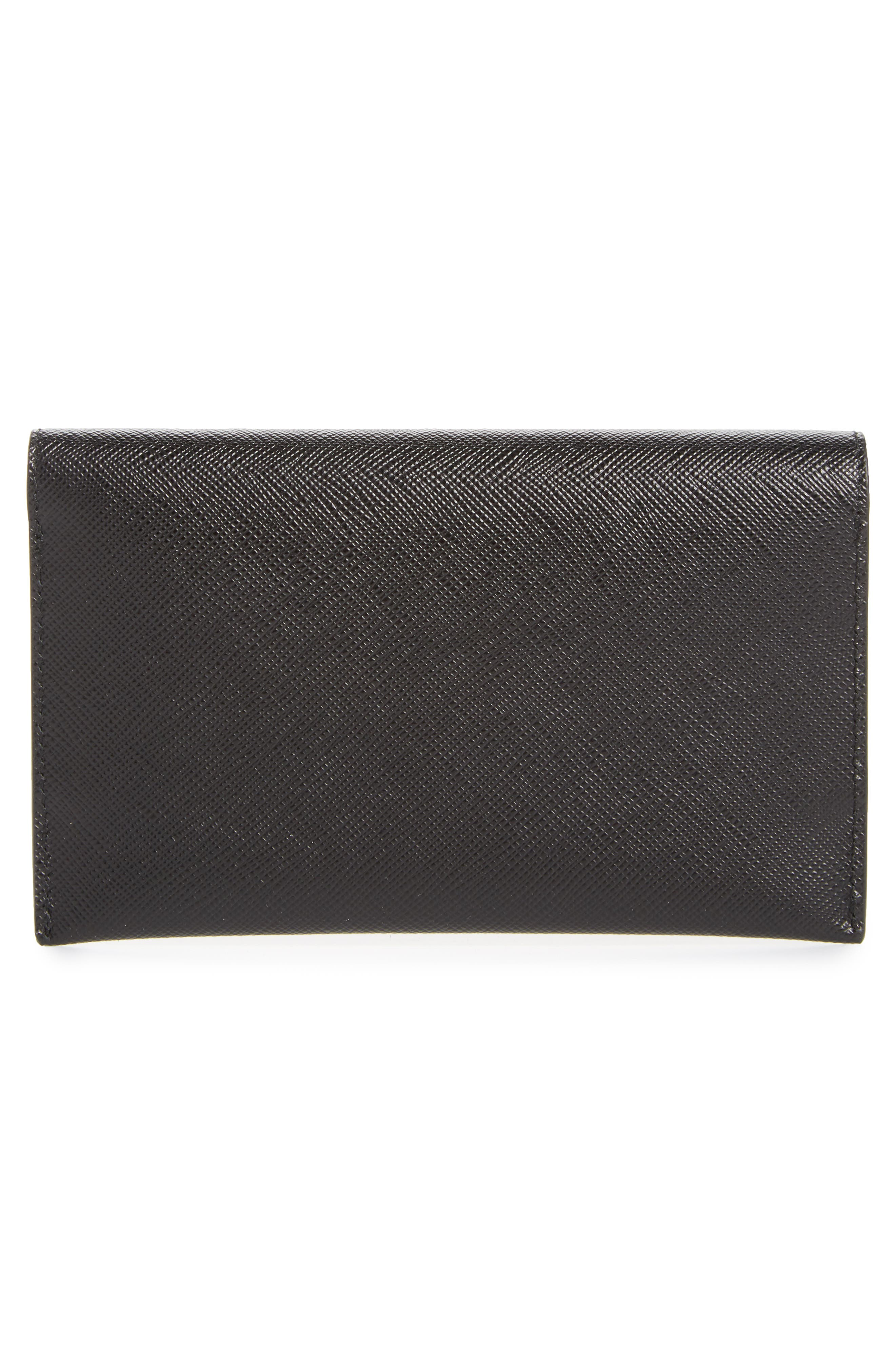 PRADA,                             Saffiano Leather Wallet,                             Alternate thumbnail 3, color,                             001