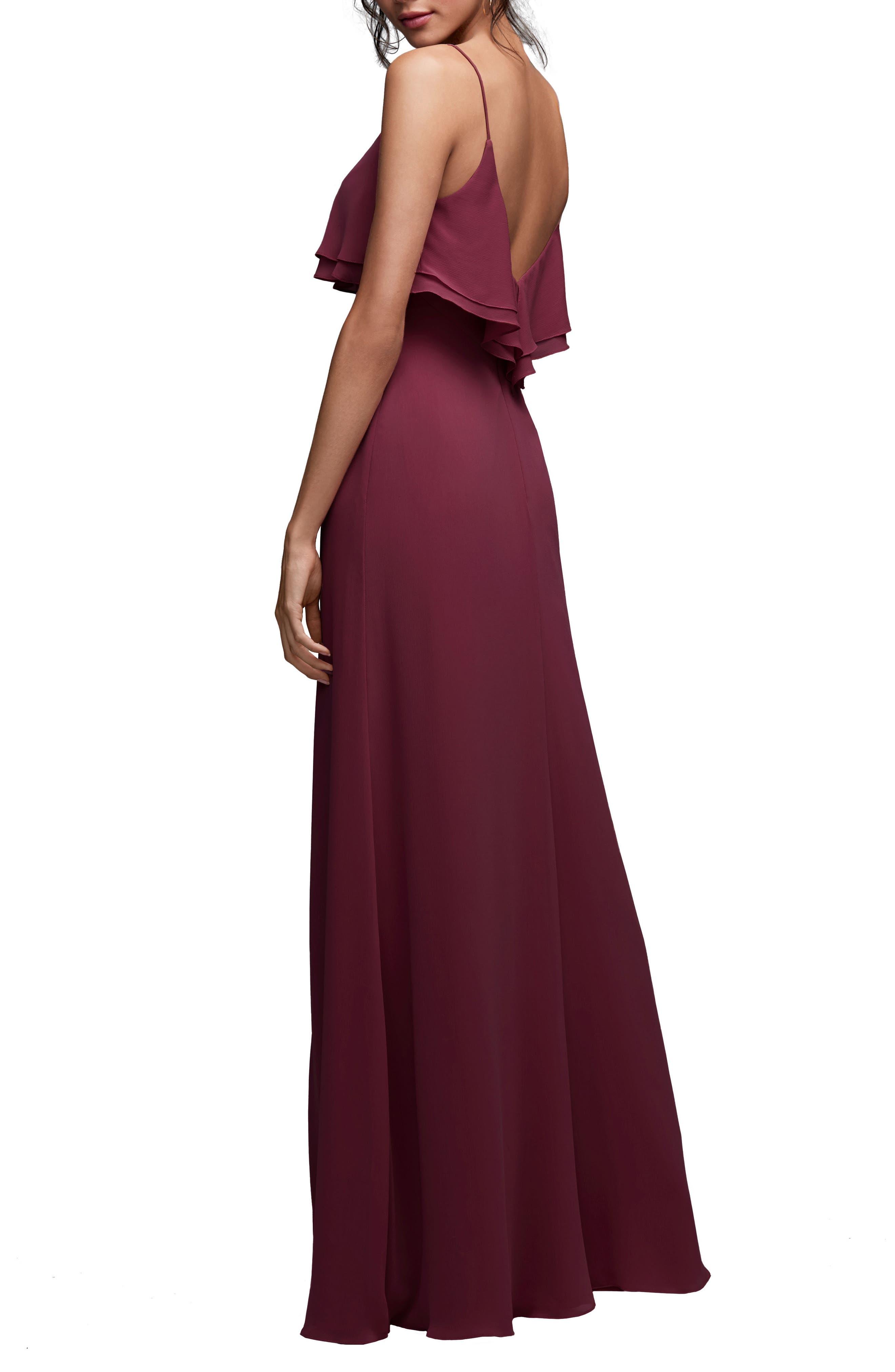 Jasper Ruffle Popover Gown,                             Alternate thumbnail 2, color,                             WINE