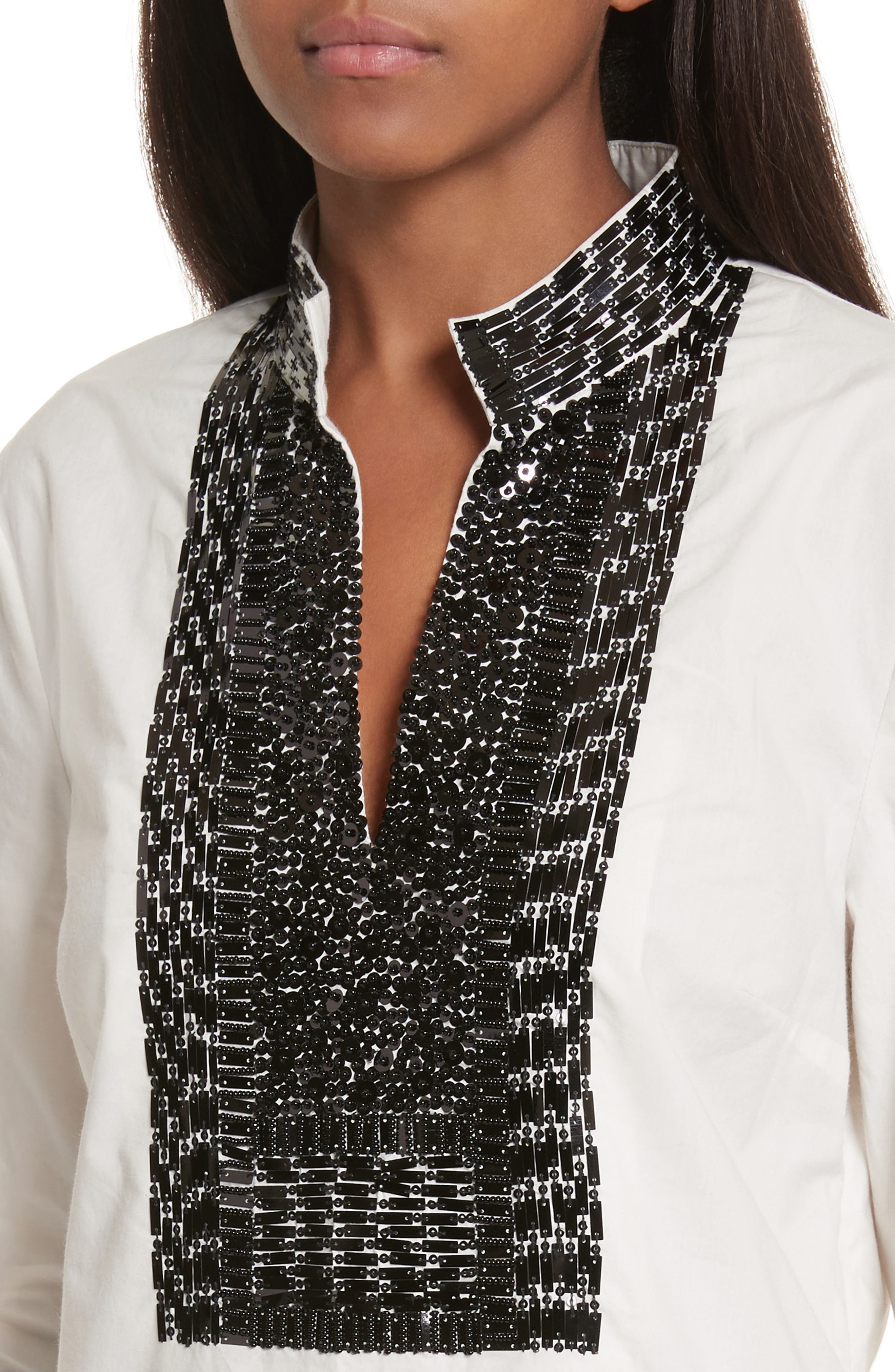 Tory Embellished Cotton Tunic,                             Alternate thumbnail 4, color,                             904