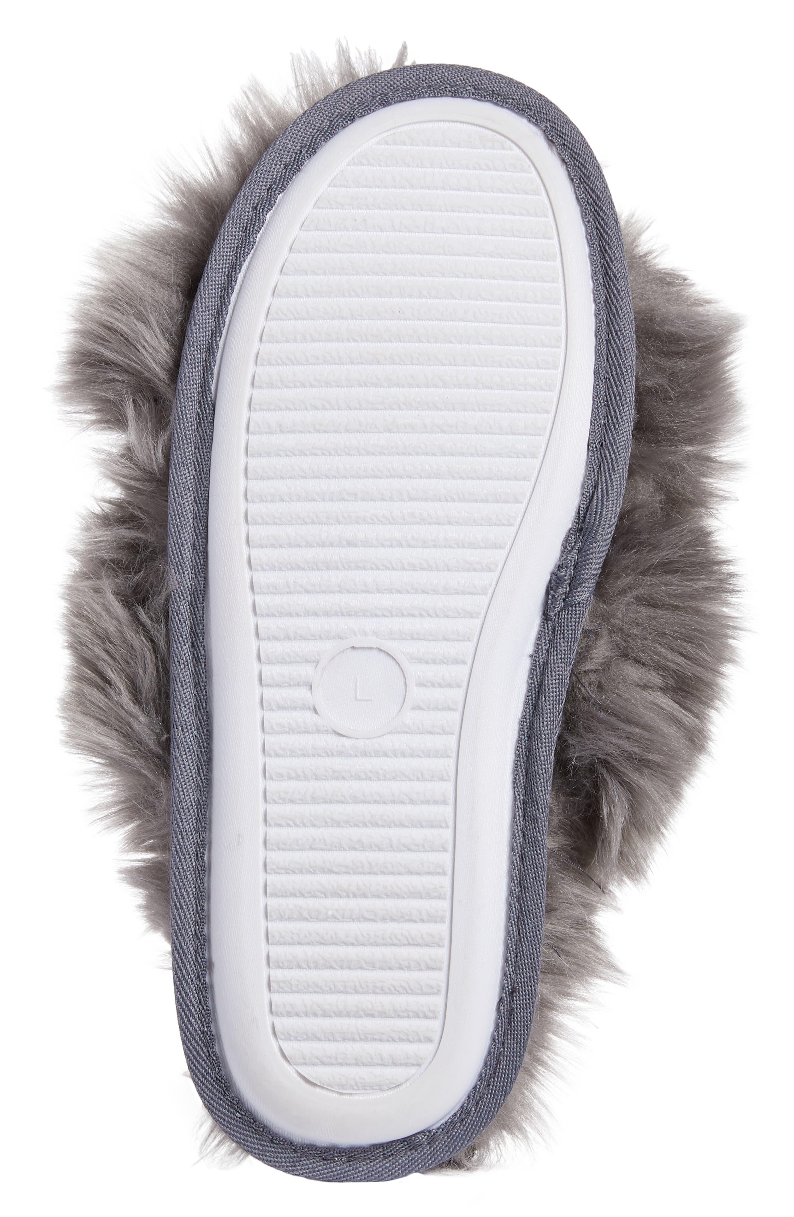 Cuddle Plush Faux Fur Scuff Slipper,                             Alternate thumbnail 6, color,                             GREY ASPHALT
