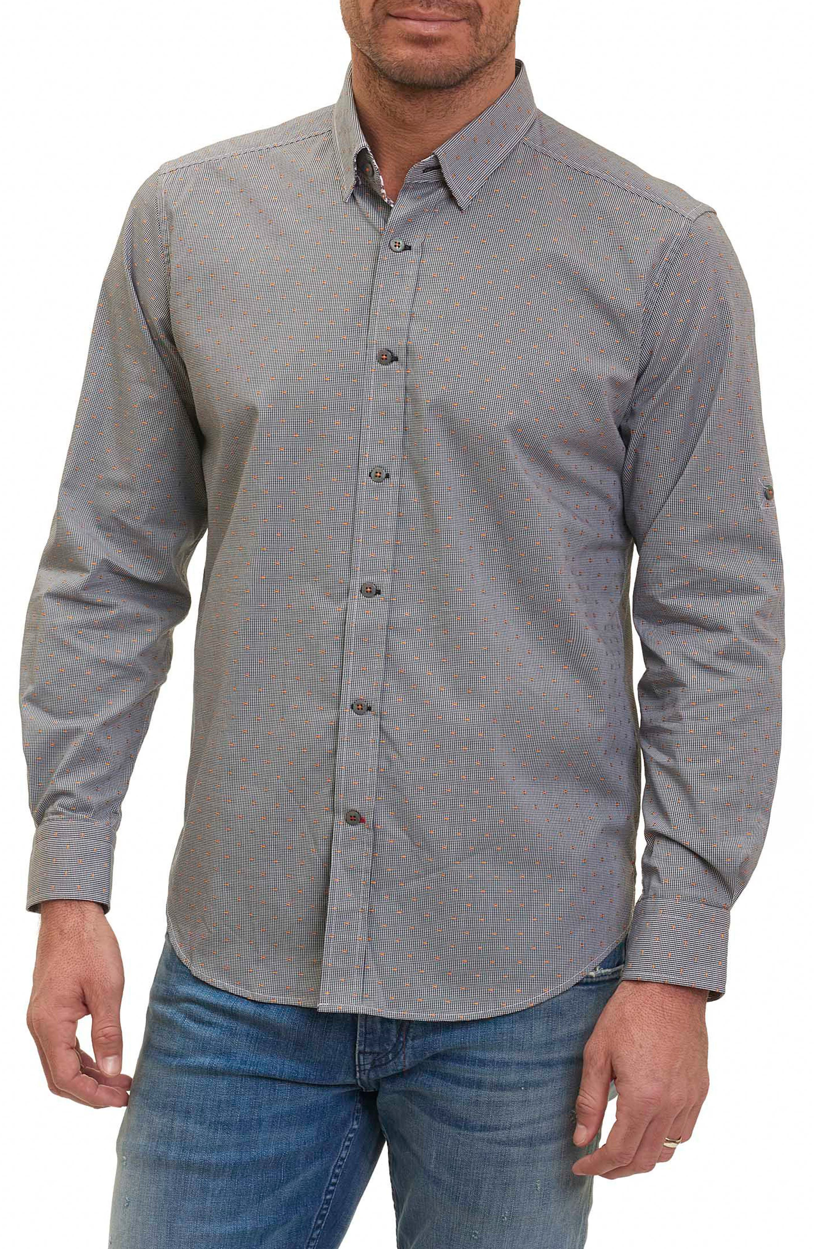 Tailored Fit Houndstooth Sport Shirt,                         Main,                         color, 001