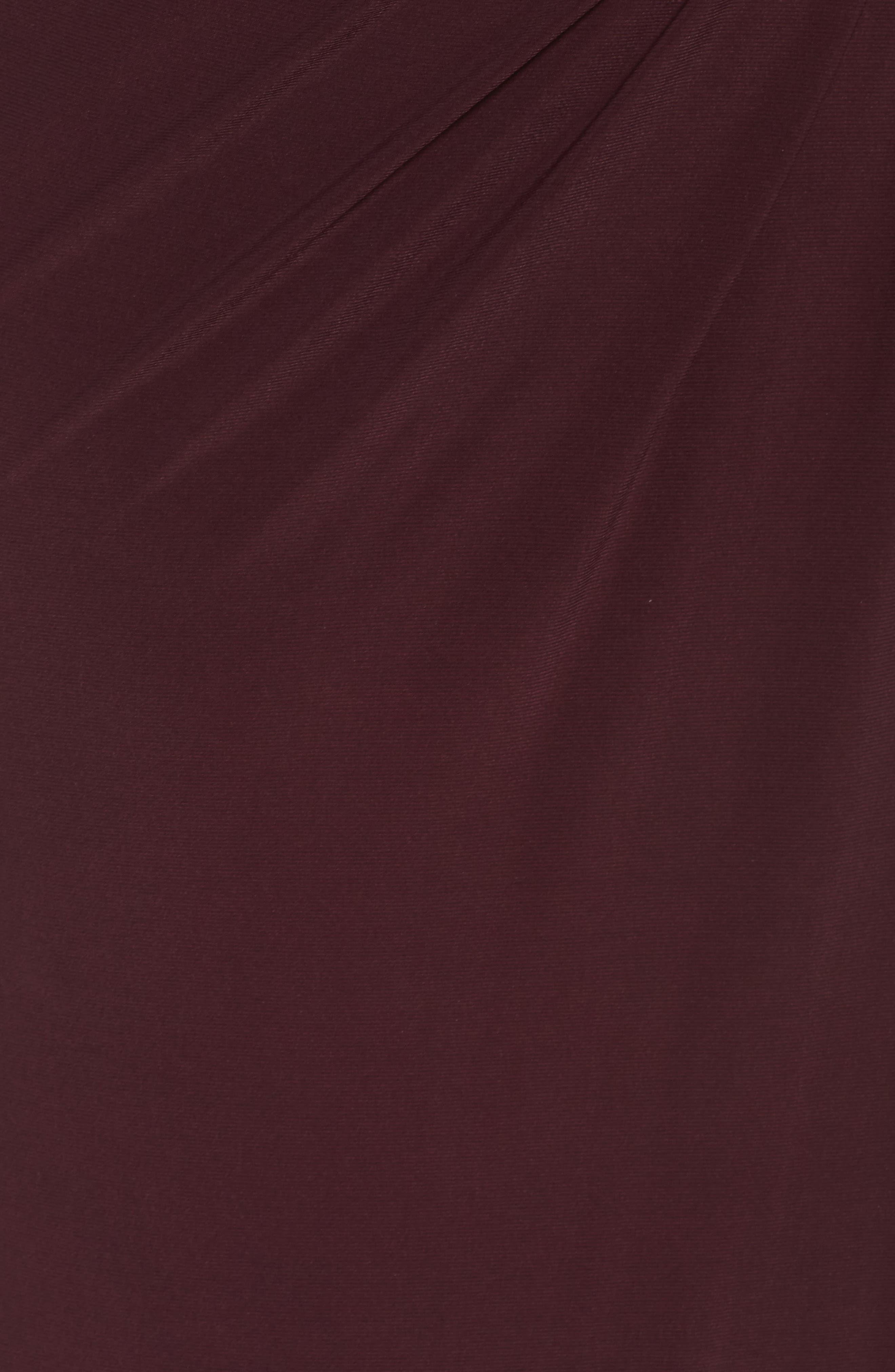 Lace Capelet Column Gown,                             Alternate thumbnail 5, color,                             BURGUNDY