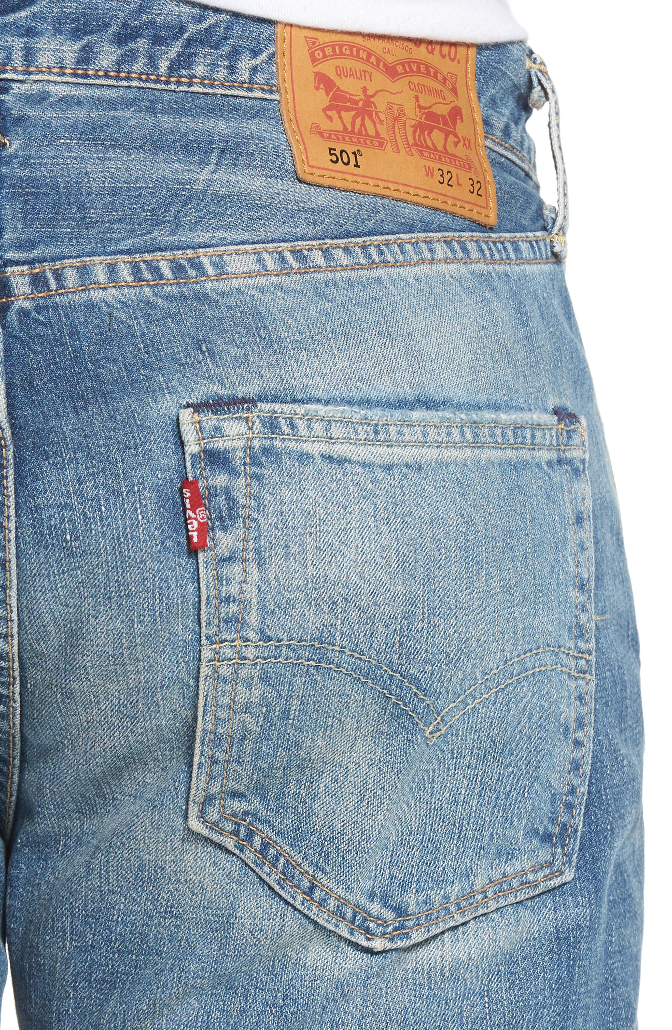 501<sup>®</sup> Original Straight Leg Jeans,                             Alternate thumbnail 4, color,
