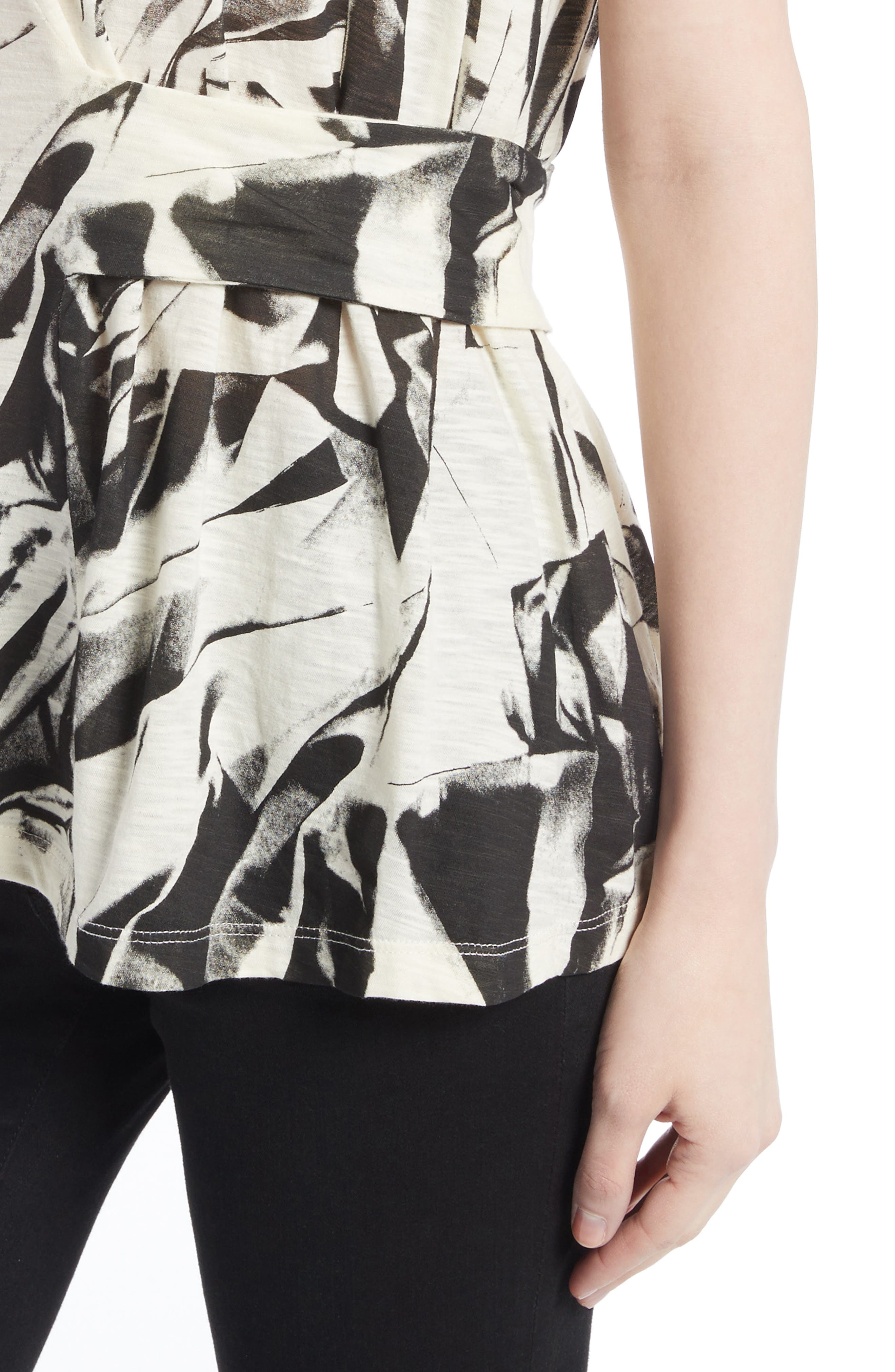 Band Detail Print Tissue Jersey Tee,                             Alternate thumbnail 4, color,                             001