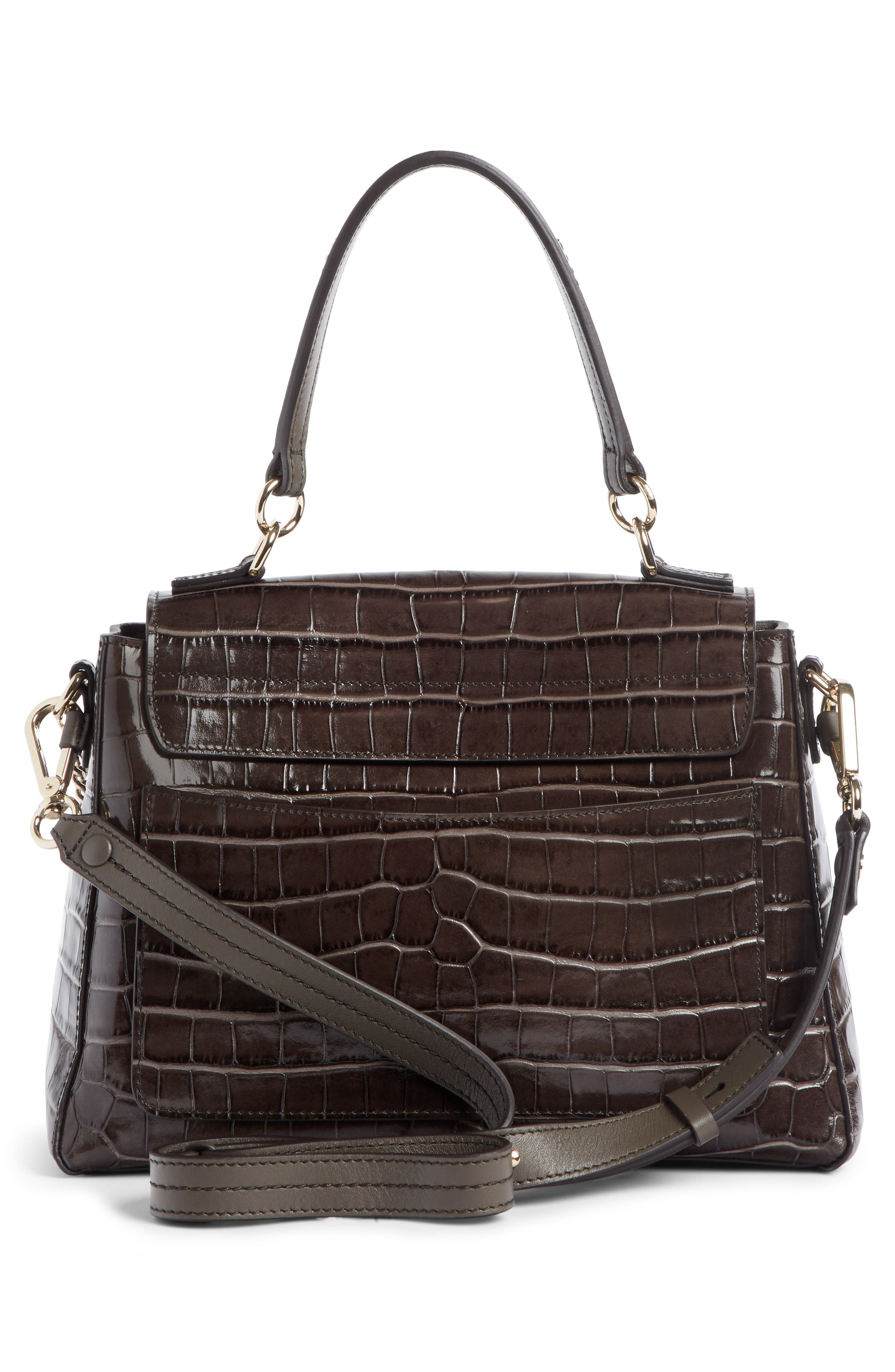 Medium Faye Day Croc Embossed Leather Shoulder Bag,                             Alternate thumbnail 3, color,                             AUTUMNAL BROWN