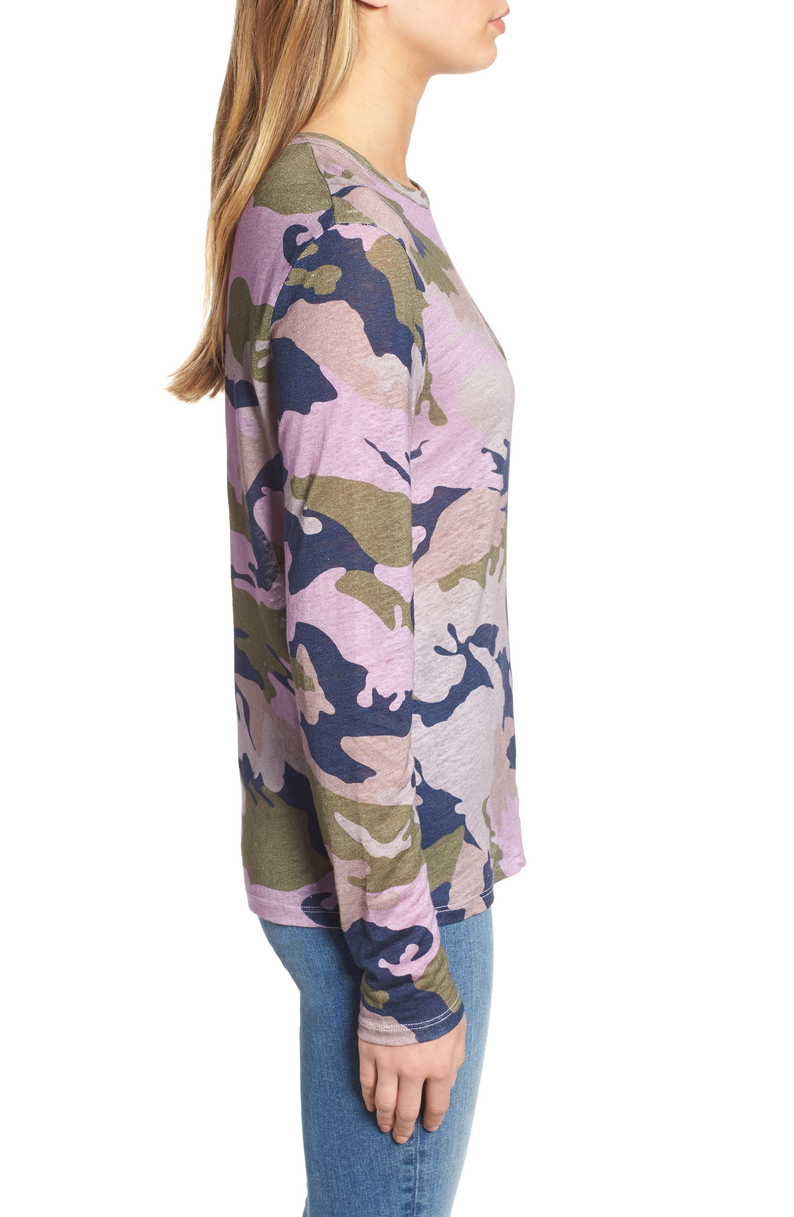 ZADIG & VOLTAIRE,                             Willy Camo Linen Top,                             Alternate thumbnail 3, color,                             300