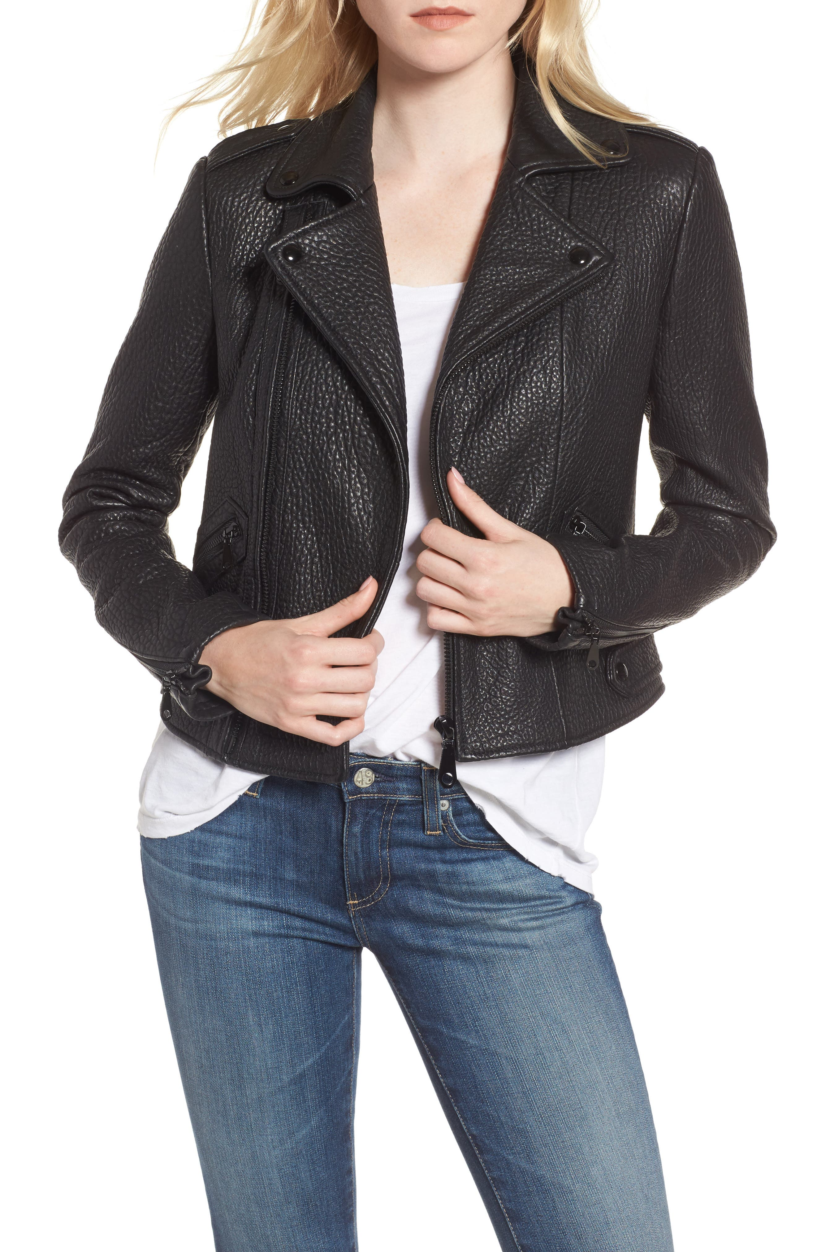 Wolf Leather Moto Jacket,                         Main,                         color, 001