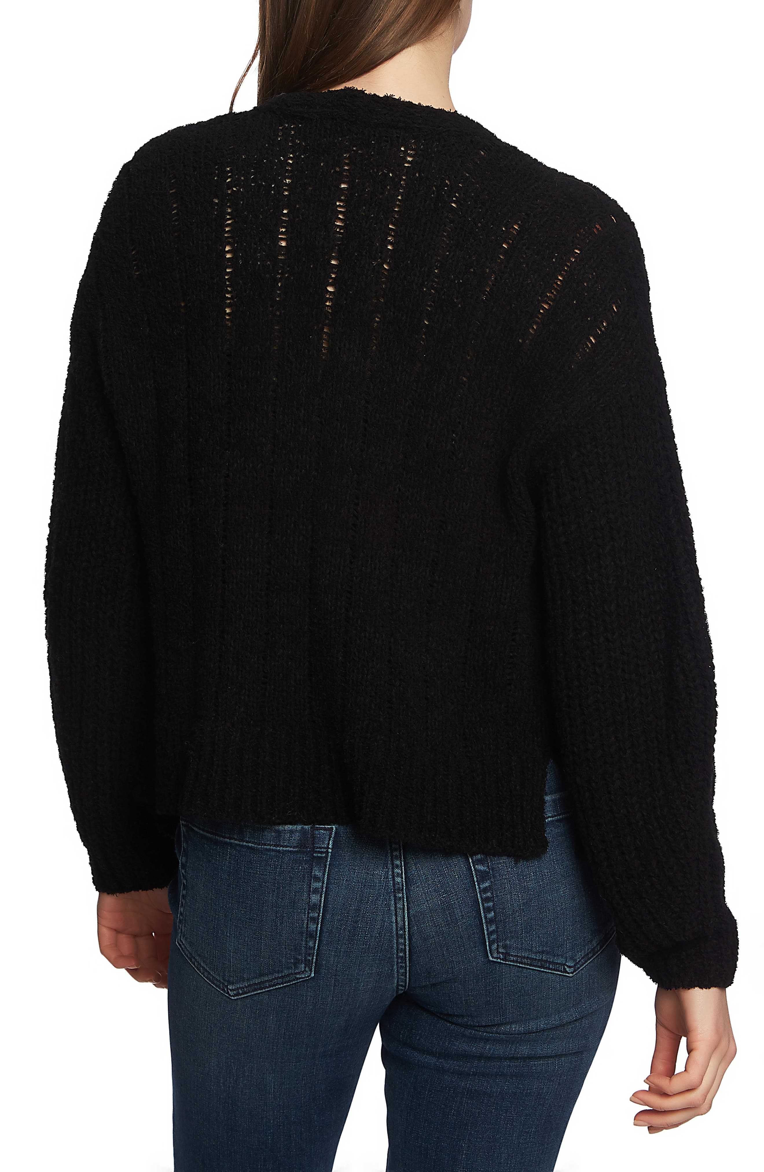 1.STATE,                             Pointelle Stitch Open Cardigan,                             Alternate thumbnail 2, color,                             RICH BLACK