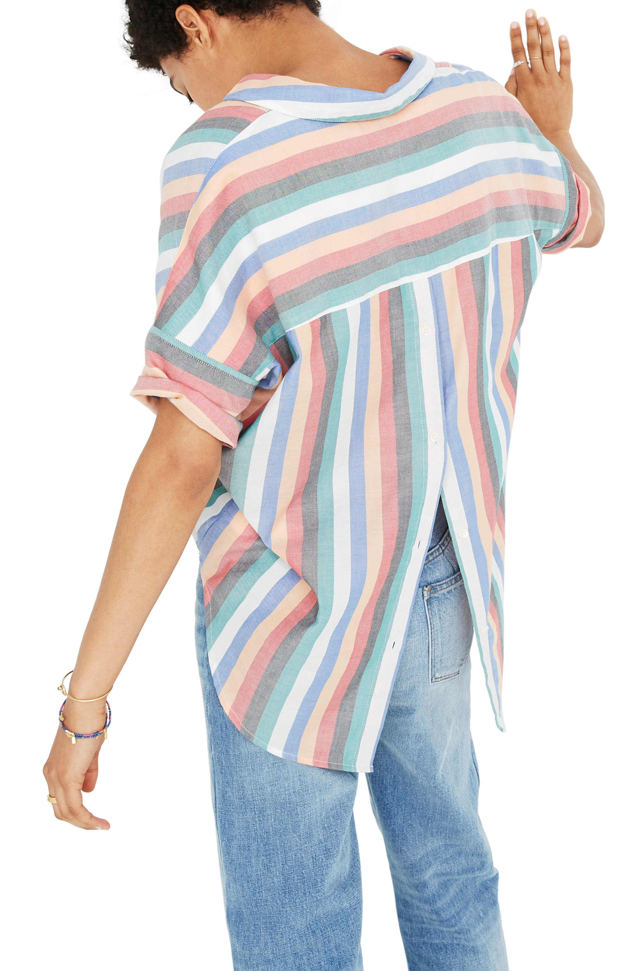 Courier Button Back Shirt,                             Alternate thumbnail 2, color,                             MULTI STRIPE