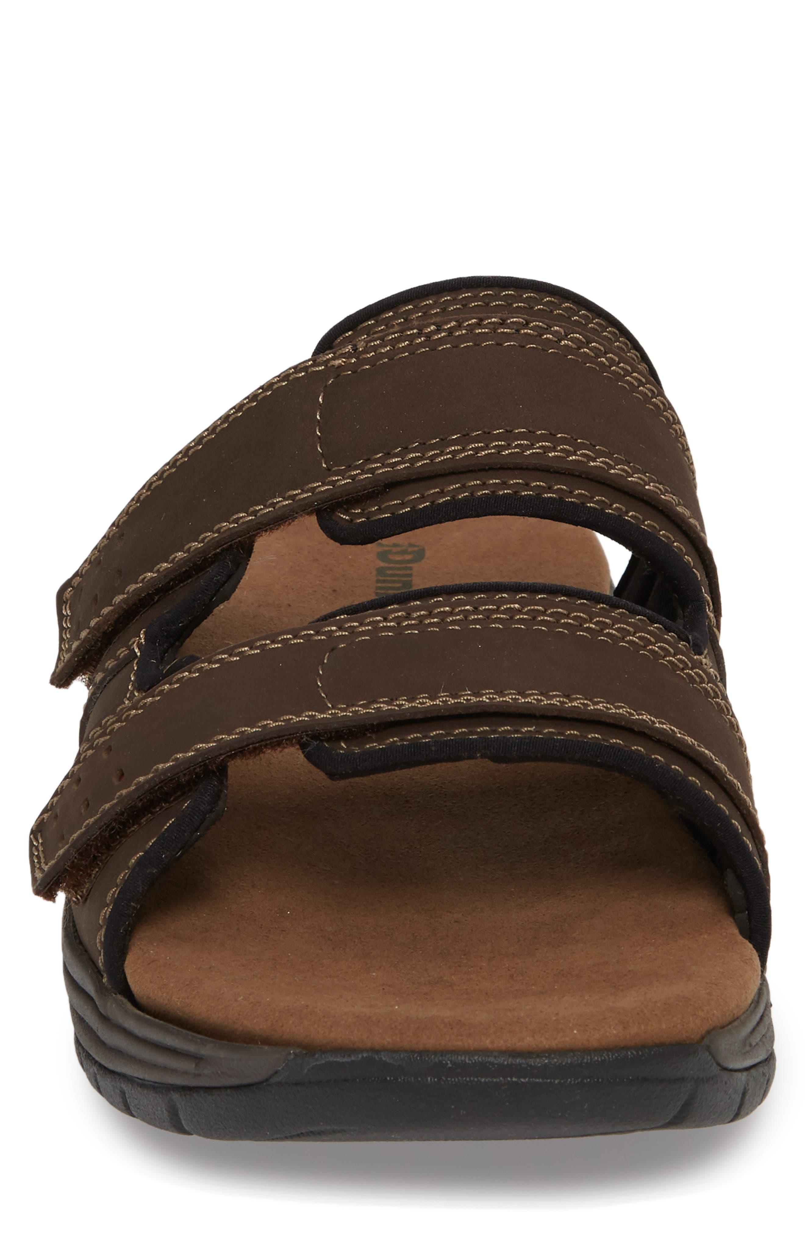 Newport Slide Sandal,                             Alternate thumbnail 4, color,                             DARK BROWN LEATHER