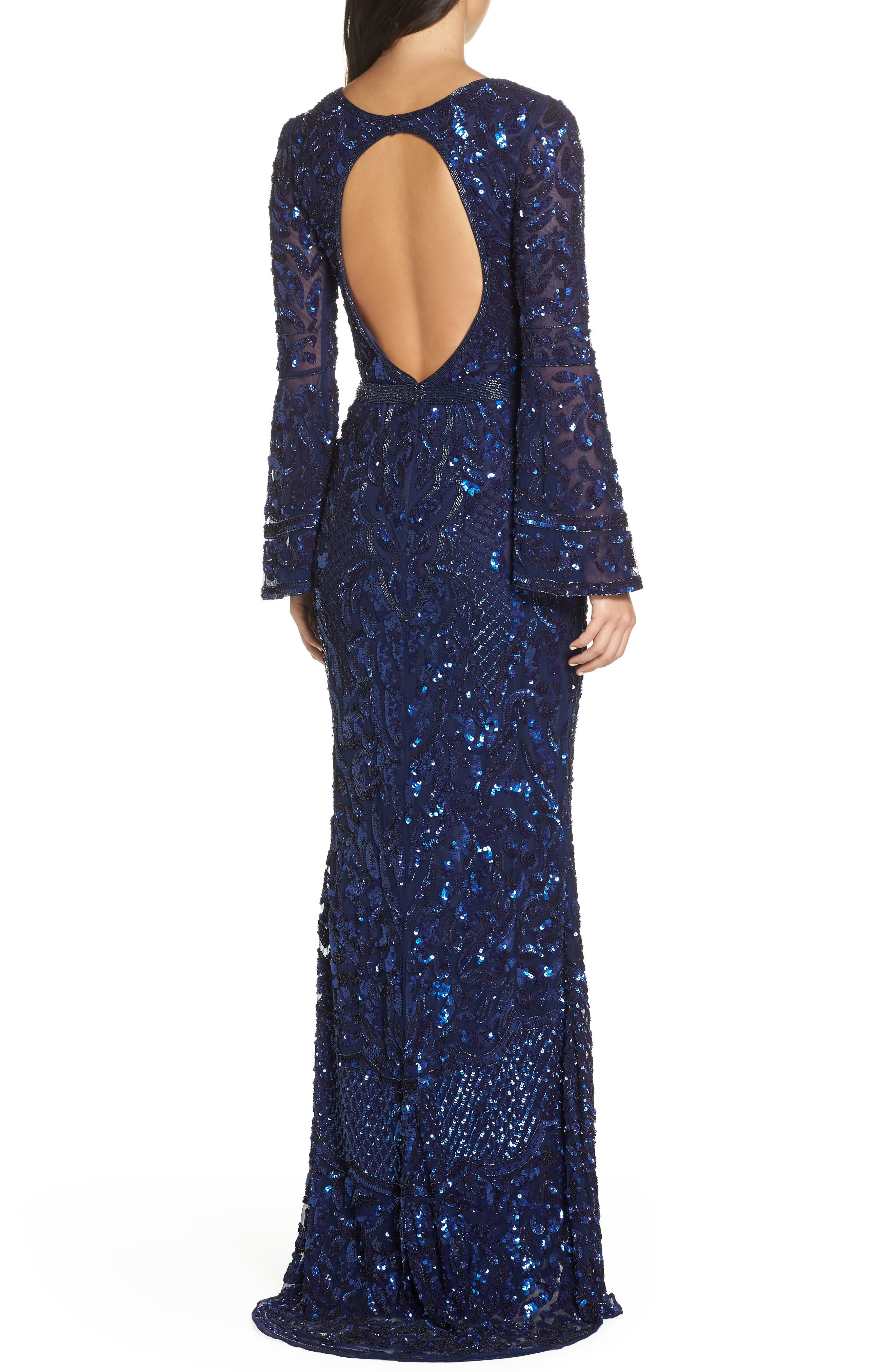 Sequin Bell Sleeve Gown,                             Alternate thumbnail 3, color,                             MIDNIGHT