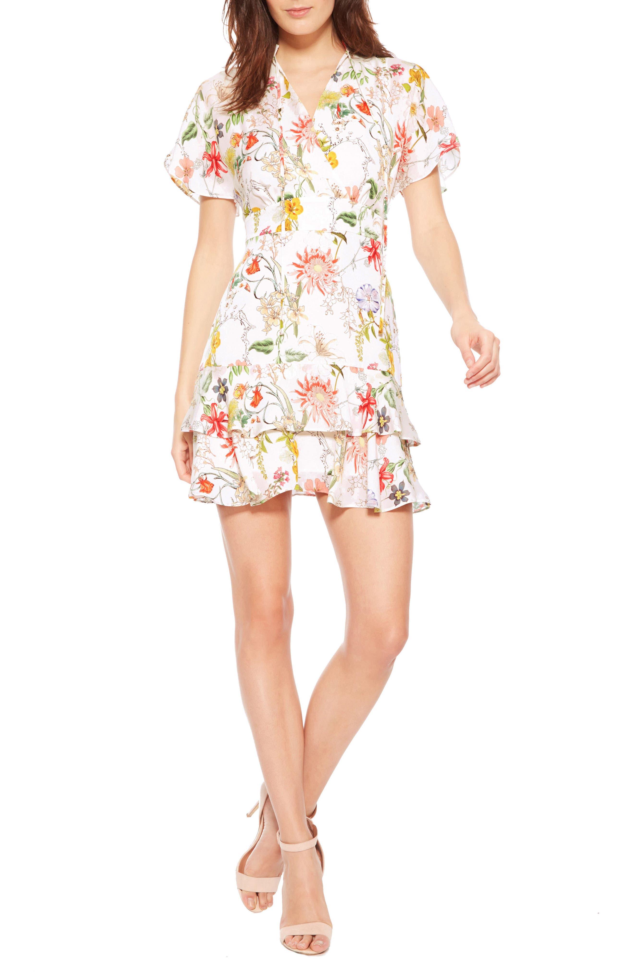 Natalie Floral Silk Dress,                         Main,                         color, 908