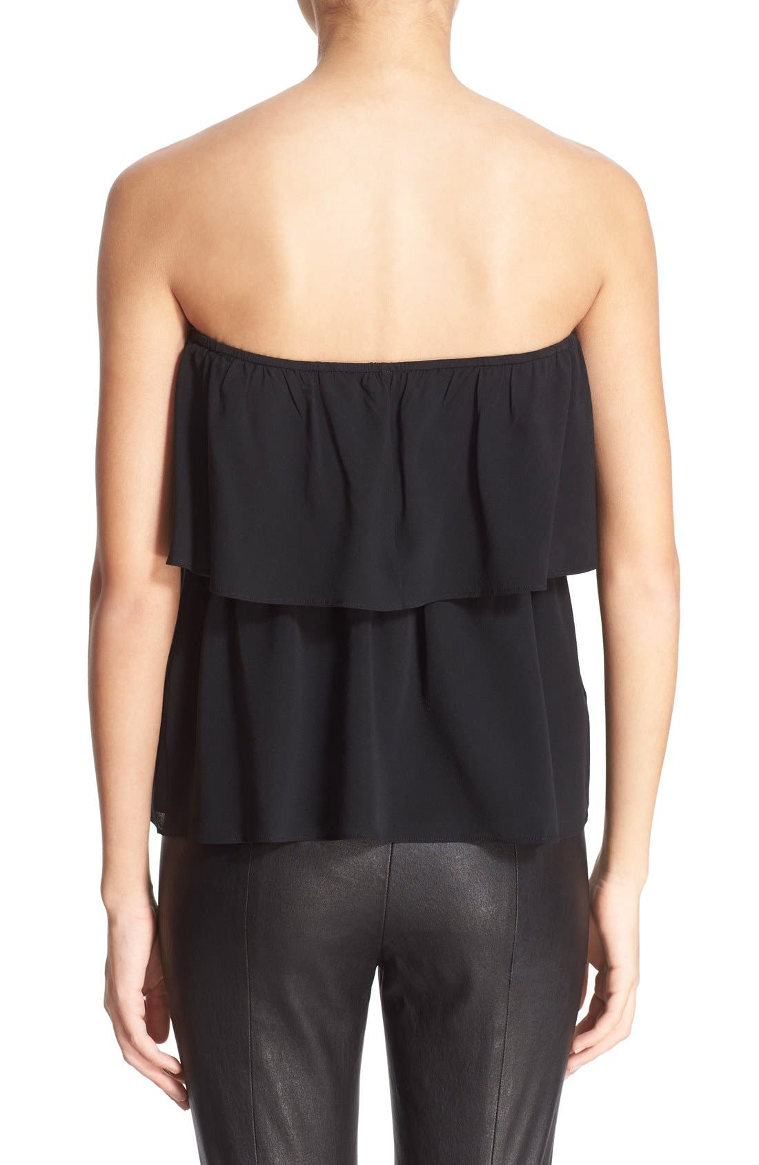 ALICE + OLIVIA,                             'Nadine' Strapless Ruffle Top,                             Alternate thumbnail 5, color,                             001