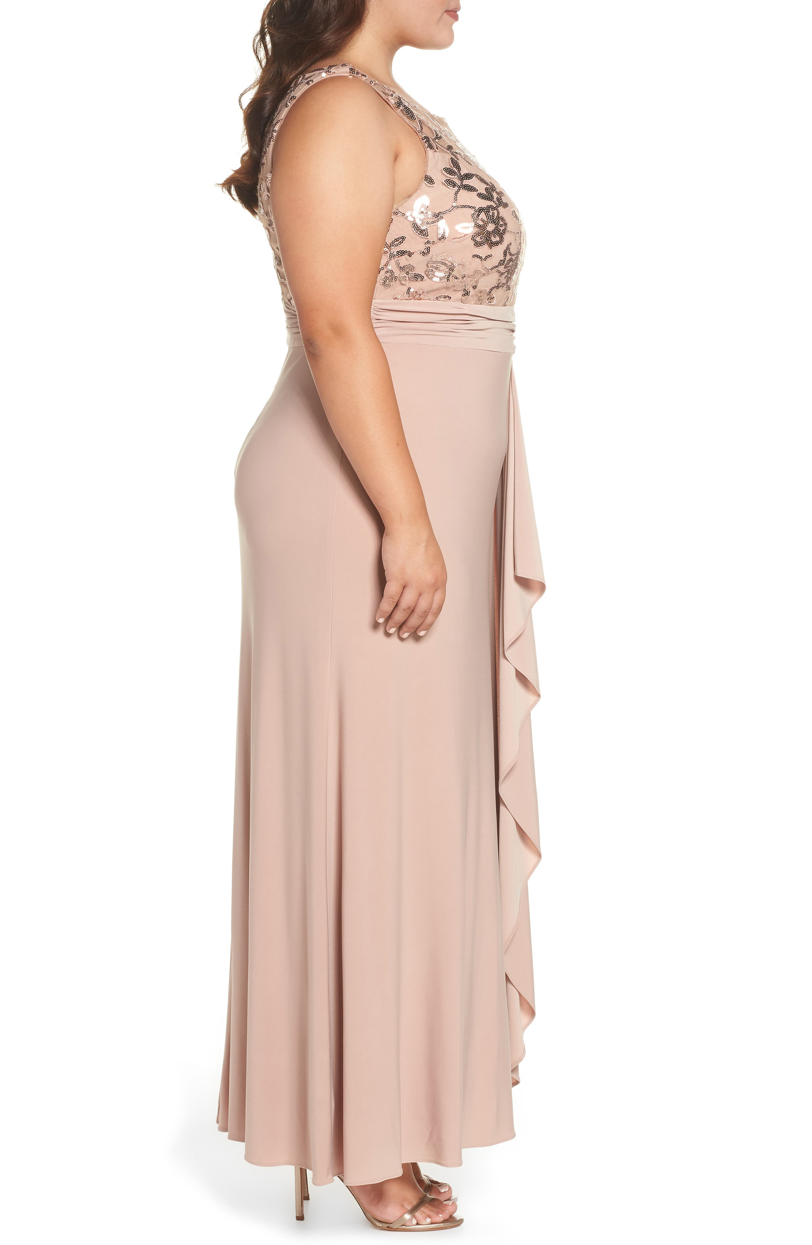 Sequin Lace Bodice Ruffle Skirt Knit Gown,                             Alternate thumbnail 3, color,                             ROSE GOLD