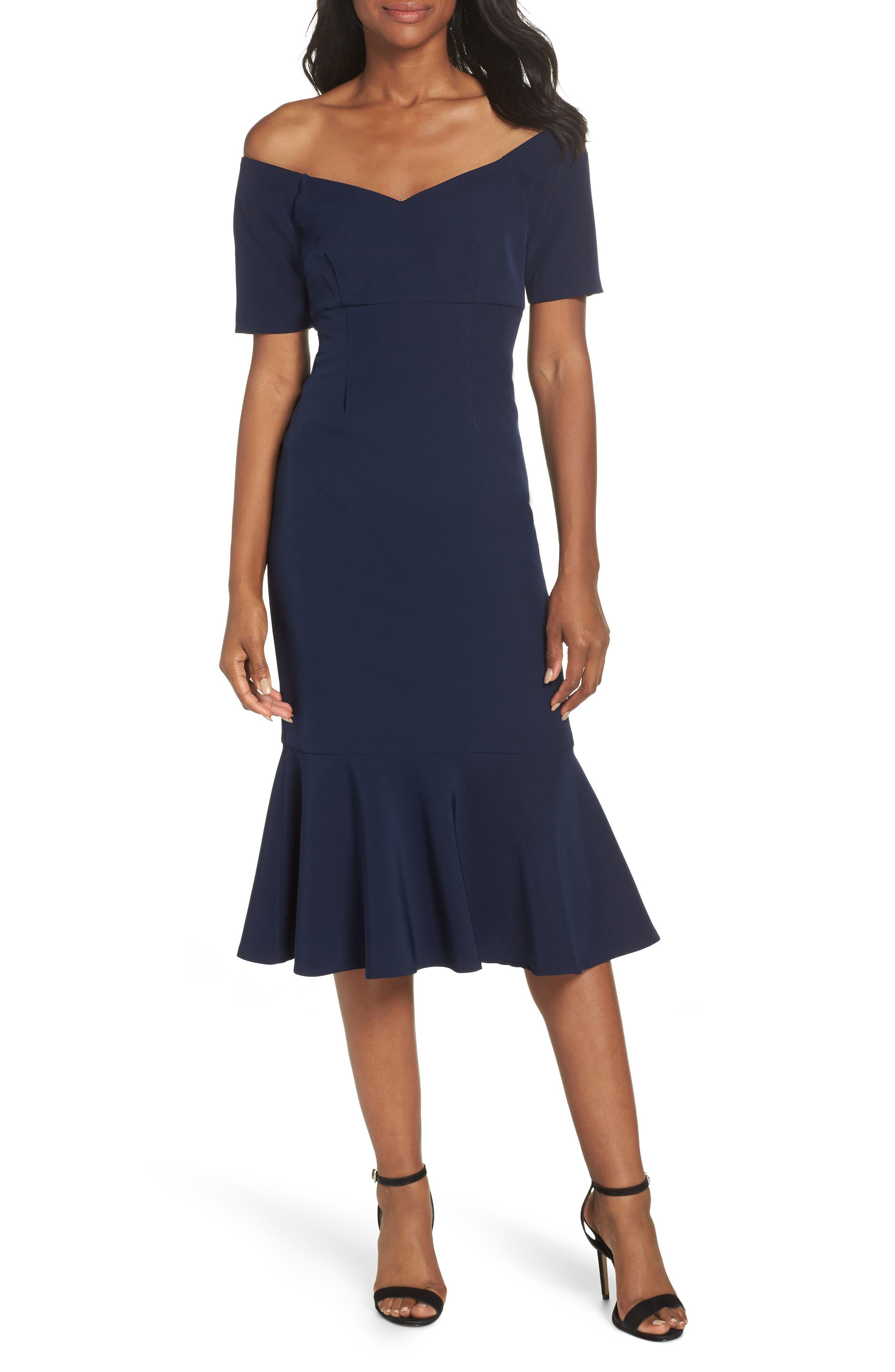 MAGGY LONDON,                             Dream Crepe Off the Shoulder Midi Dress,                             Main thumbnail 1, color,                             410