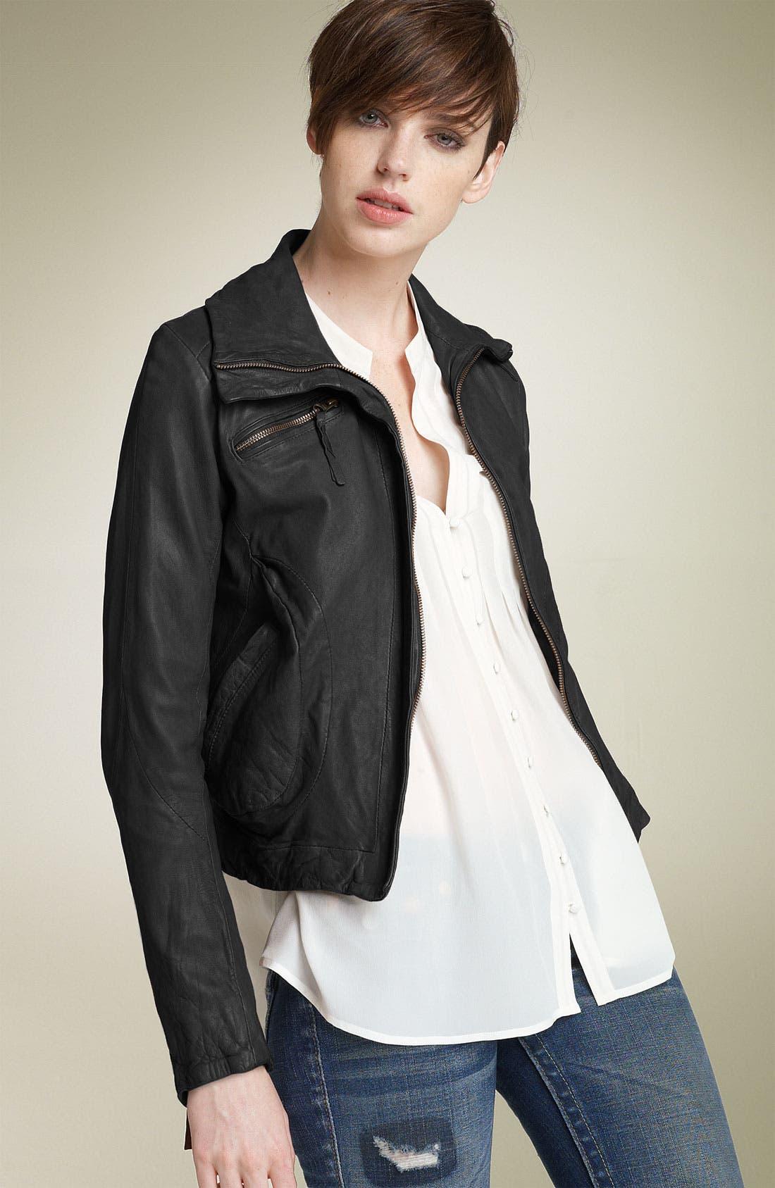 Washed Leather Bomber Jacket, Main, color, 001