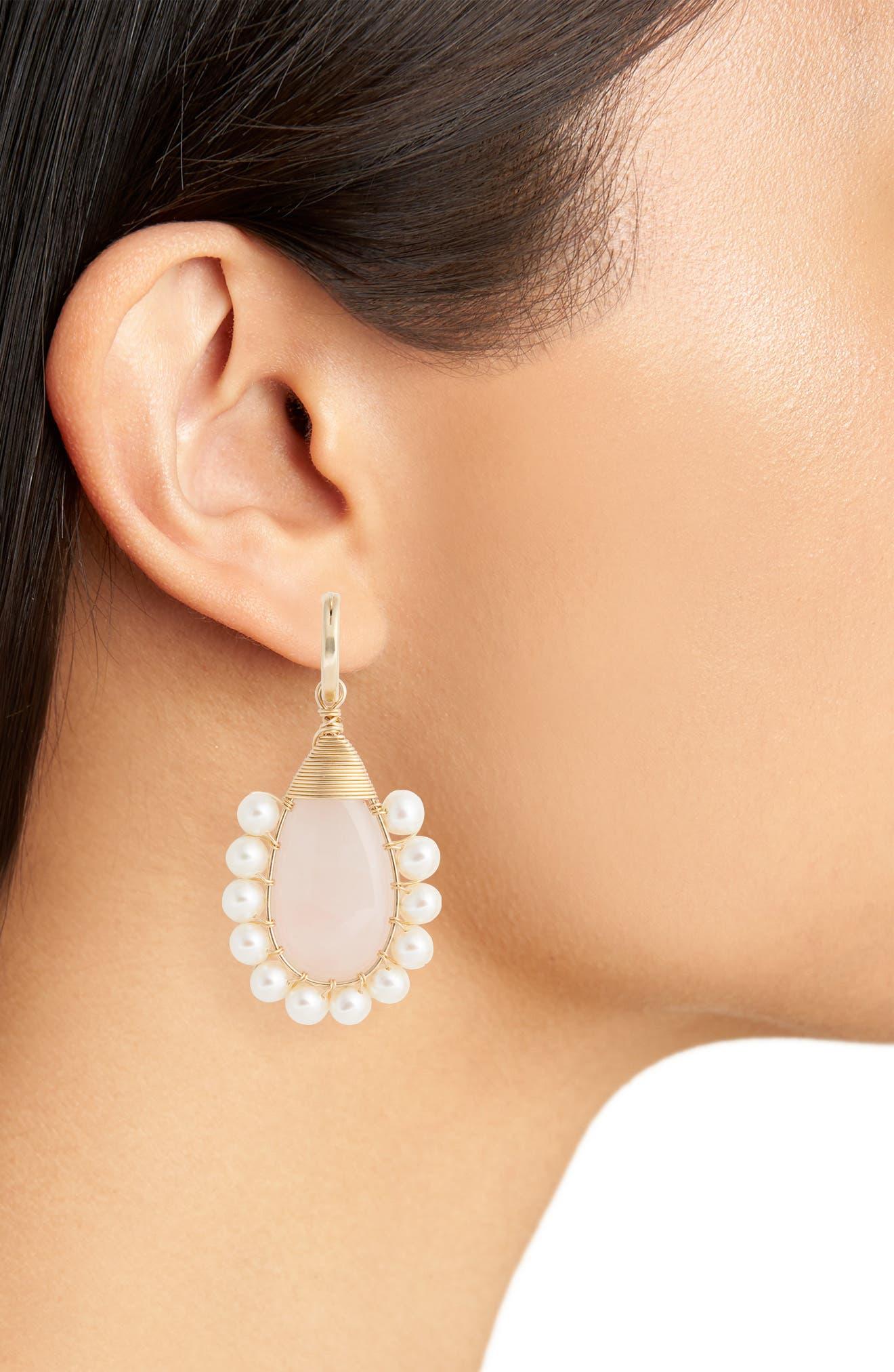 Lolita Rose Quartz & Freshwater Pearl Statement Earrings,                             Alternate thumbnail 2, color,                             ROSE QUARTZ