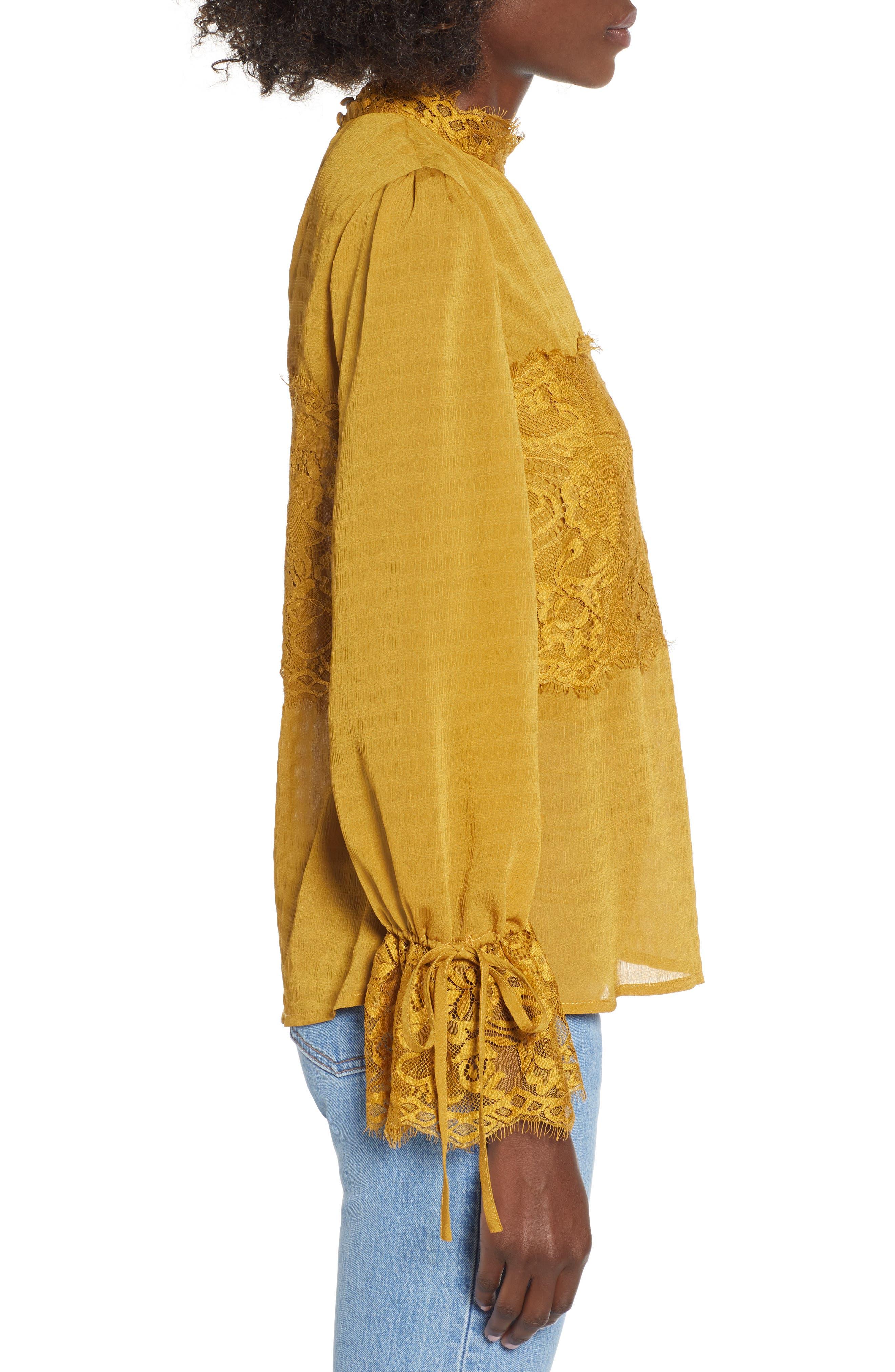 Lace Panel Blouse,                             Alternate thumbnail 3, color,                             GOLDEN ROD