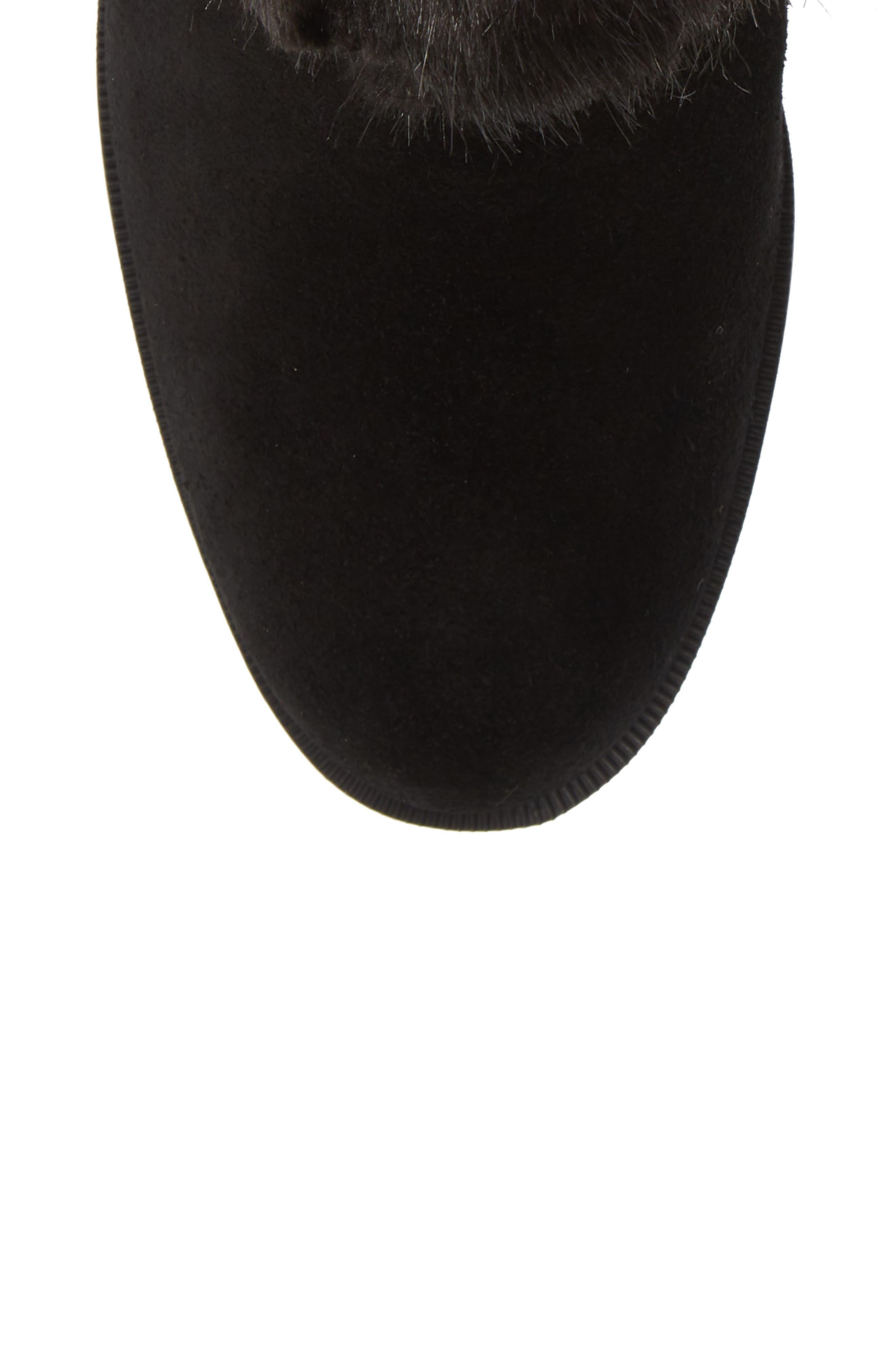 Giselle Water Resistant Faux Fur Boot,                             Alternate thumbnail 5, color,                             BLACK SUEDE