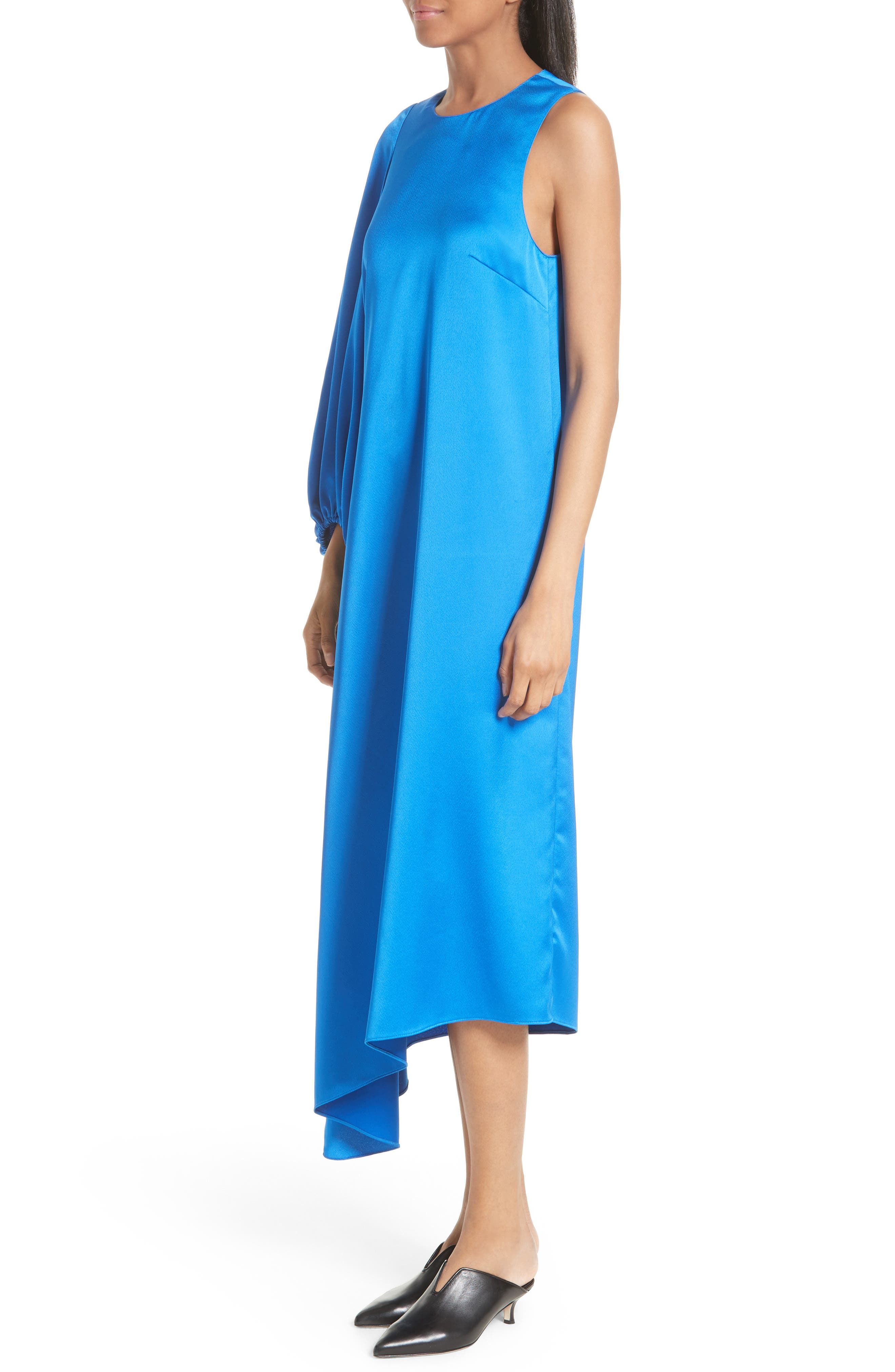 Celestia One Sleeve Bias Cut Satin Dress,                             Alternate thumbnail 3, color,                             408