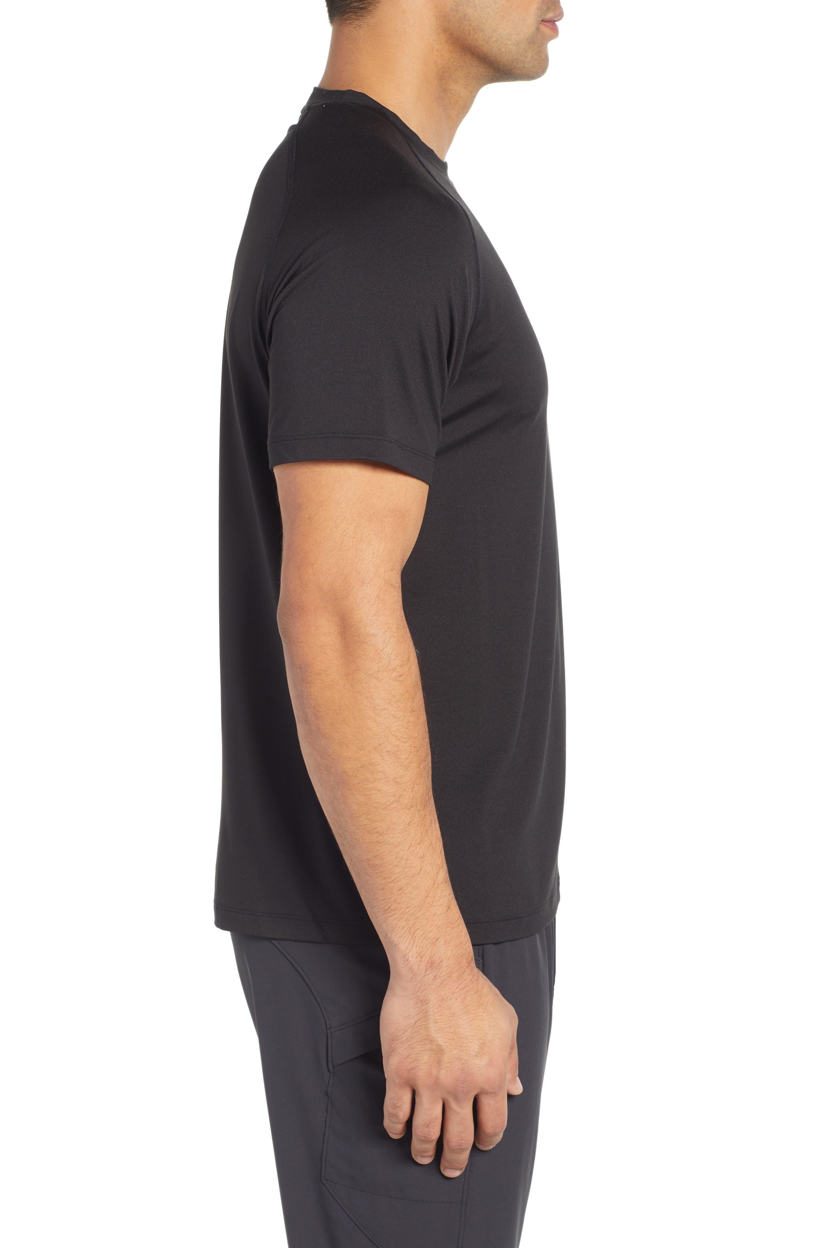 Rio Regular Fit Technical T-Shirt,                             Alternate thumbnail 3, color,                             BLACK