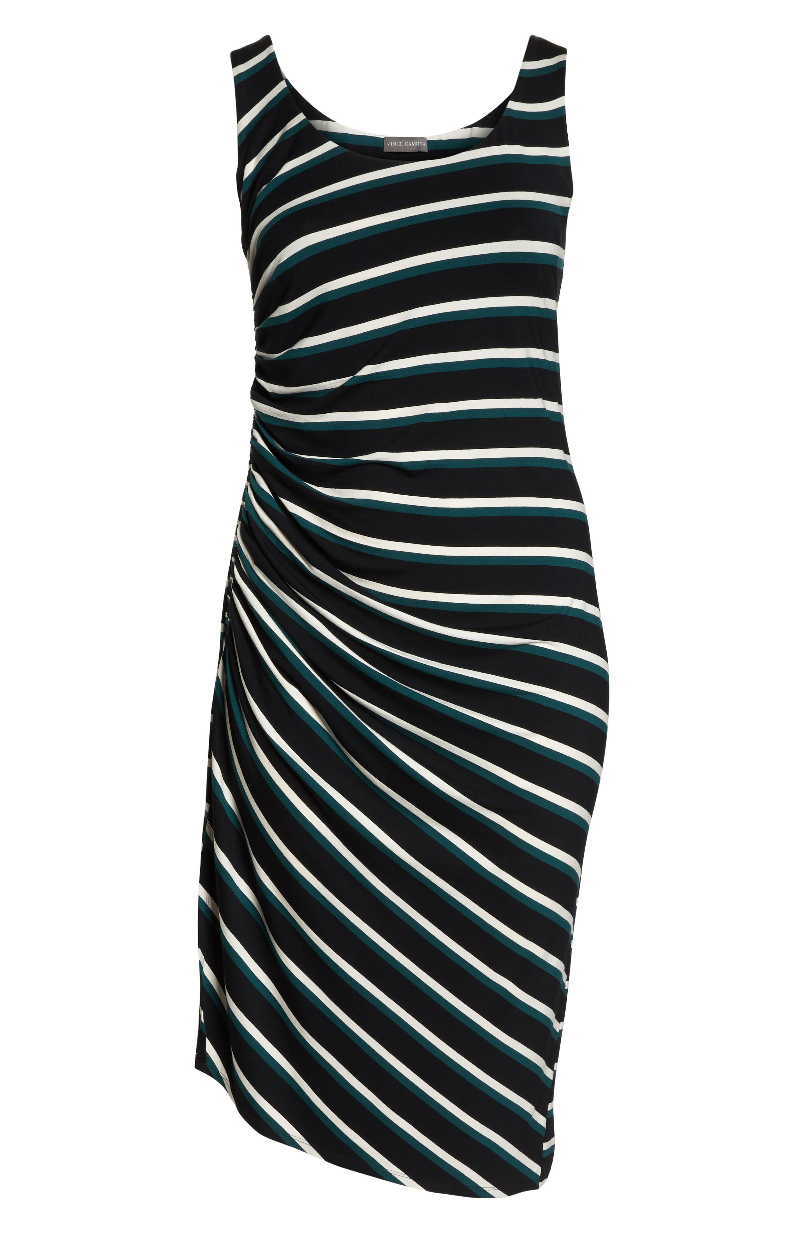 Side Ruched Stripe Tank Dress,                             Alternate thumbnail 7, color,                             300