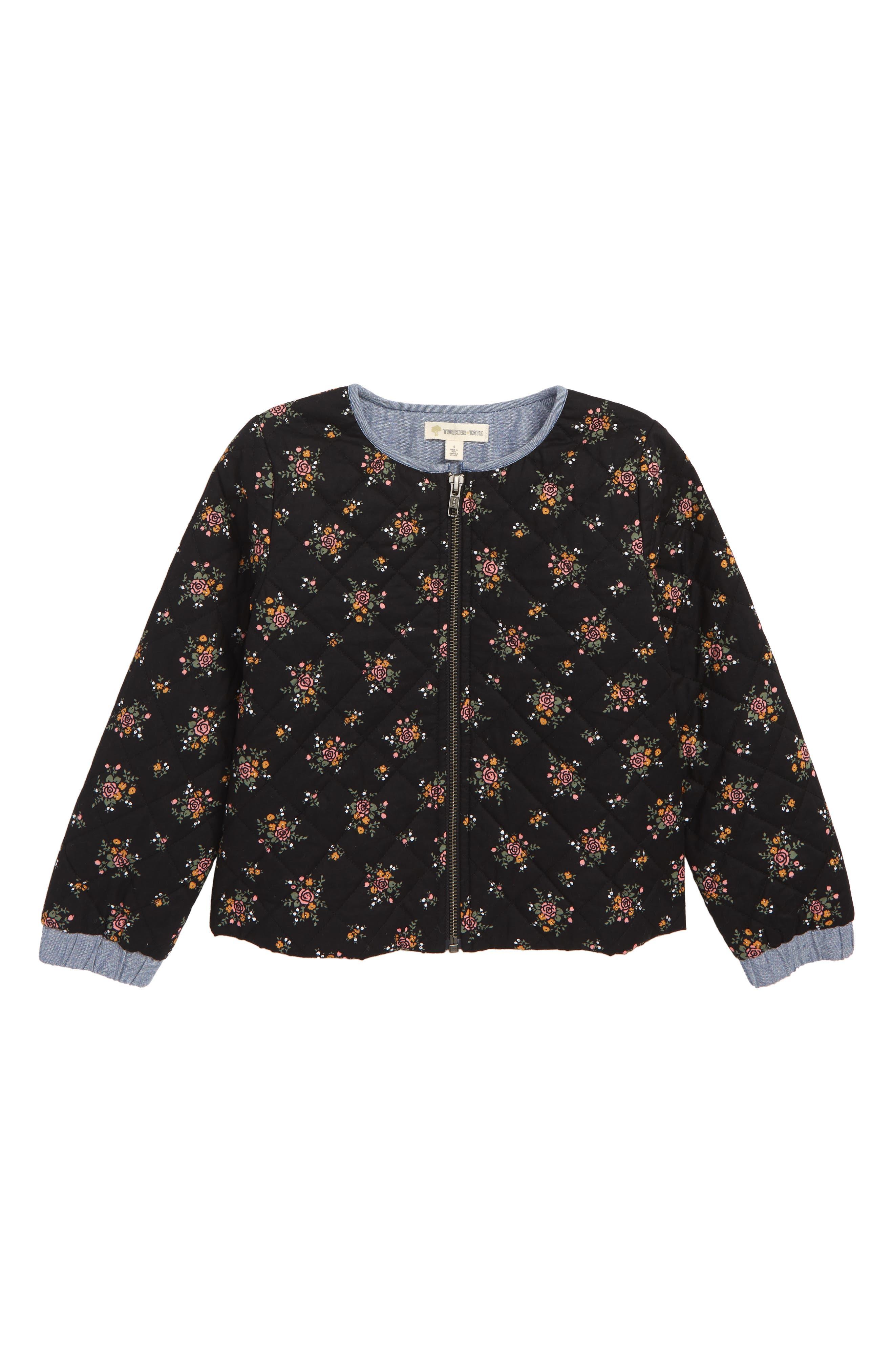 Quilted Jacket,                         Main,                         color, BLACK BOUQUET