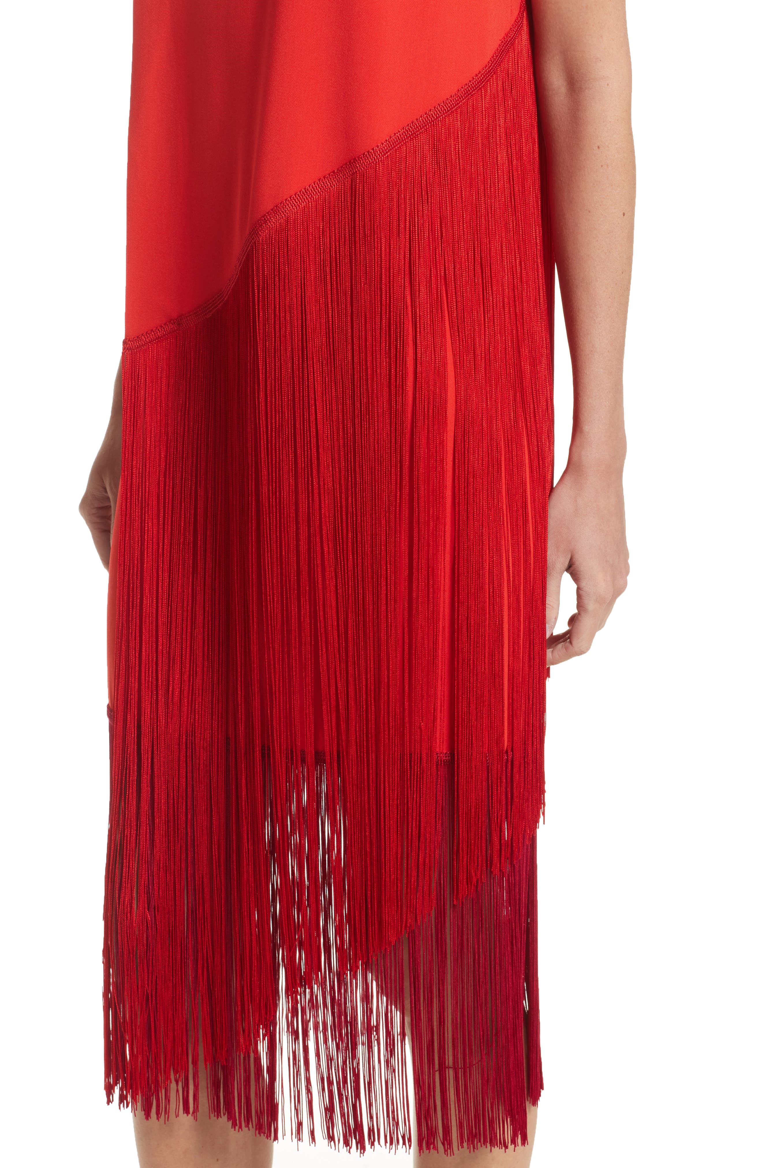 Fringe Overlay Dress,                             Alternate thumbnail 4, color,