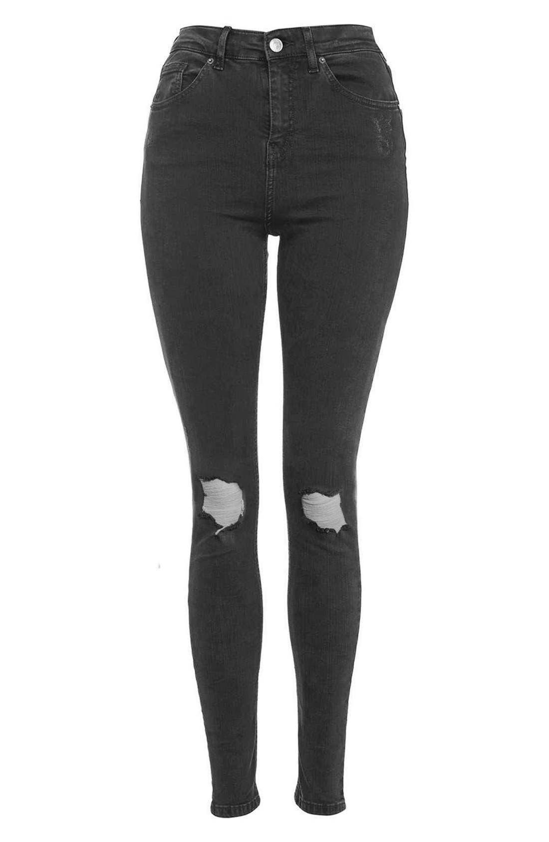 Jamie Shredded High Waist Skinny Jeans,                             Alternate thumbnail 4, color,                             001