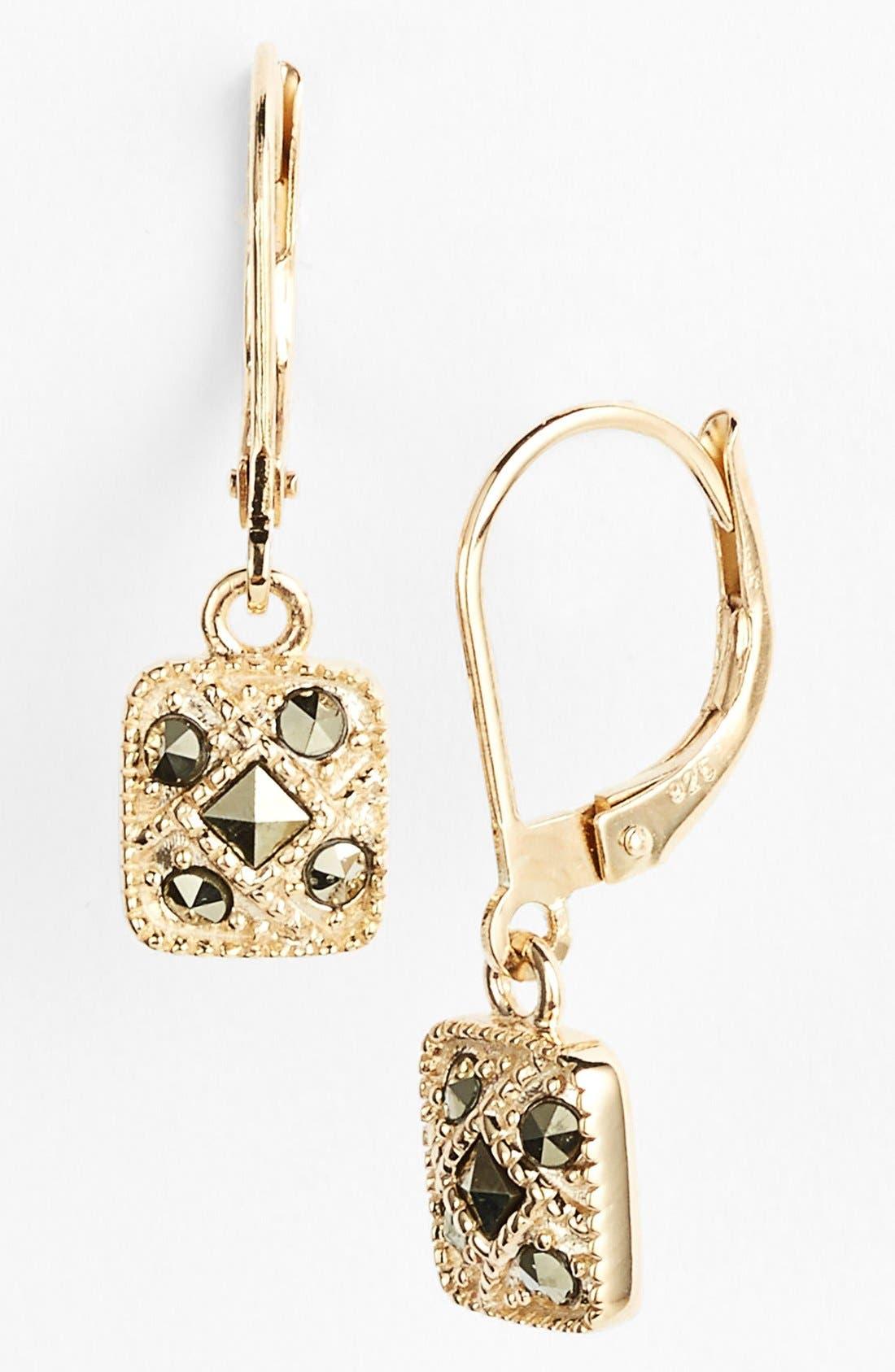 Square Drop Earrings,                             Main thumbnail 1, color,                             GOLD/ MARCASITE