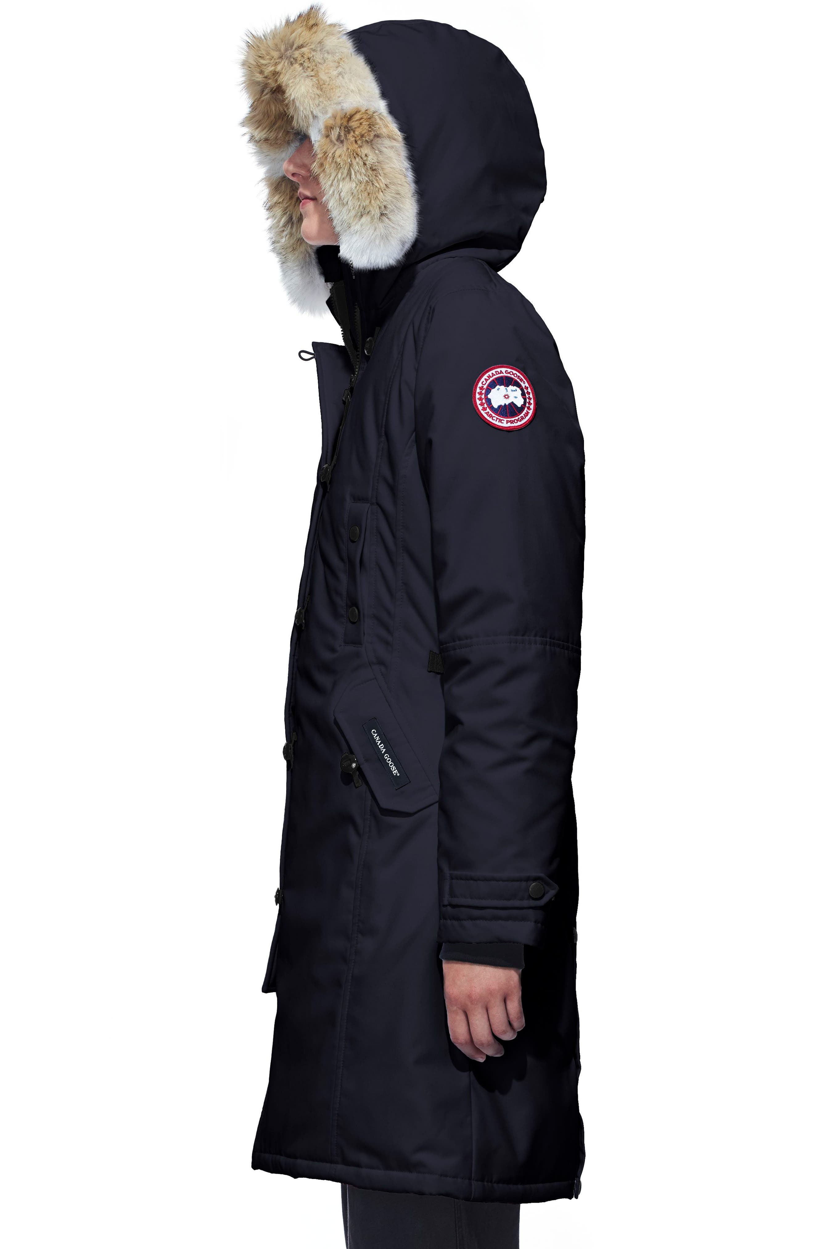 Kensington Slim Fit Down Parka with Genuine Coyote Fur Trim,                             Alternate thumbnail 3, color,                             ADMIRAL BLUE