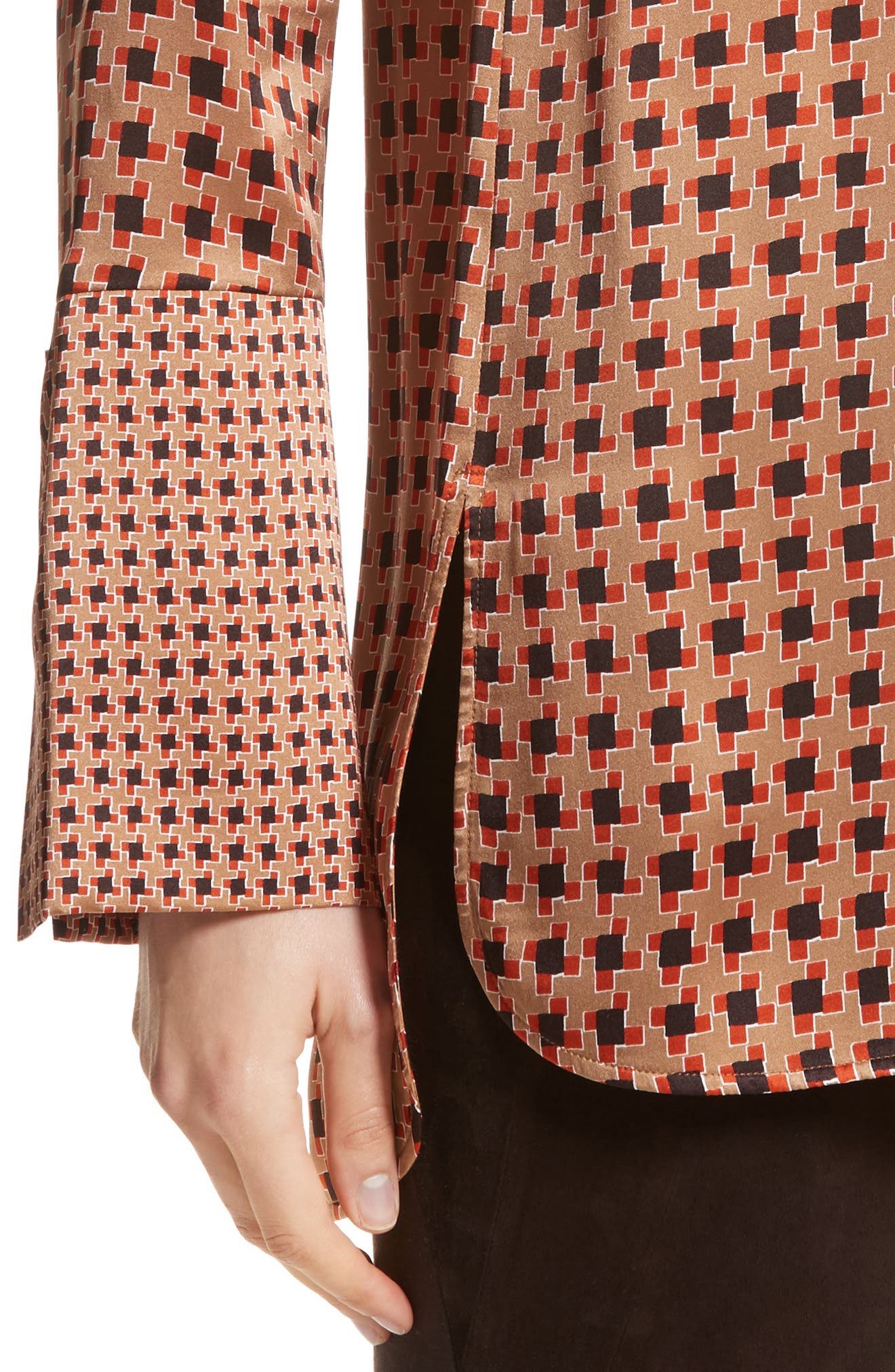 Desra Highgate Houndstooth Silk Tunic,                             Alternate thumbnail 4, color,