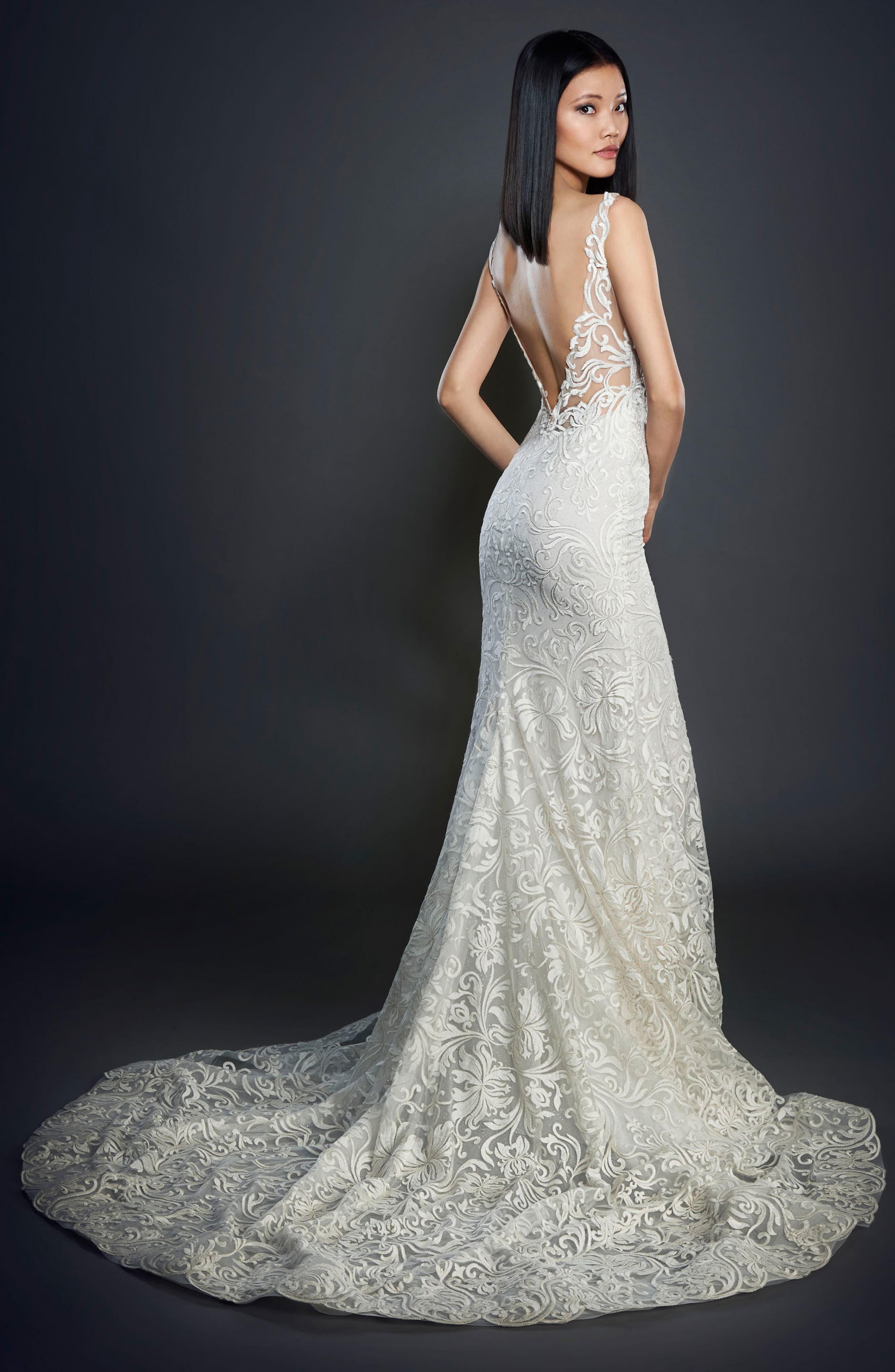 Floral Scroll Gown,                             Alternate thumbnail 2, color,                             900