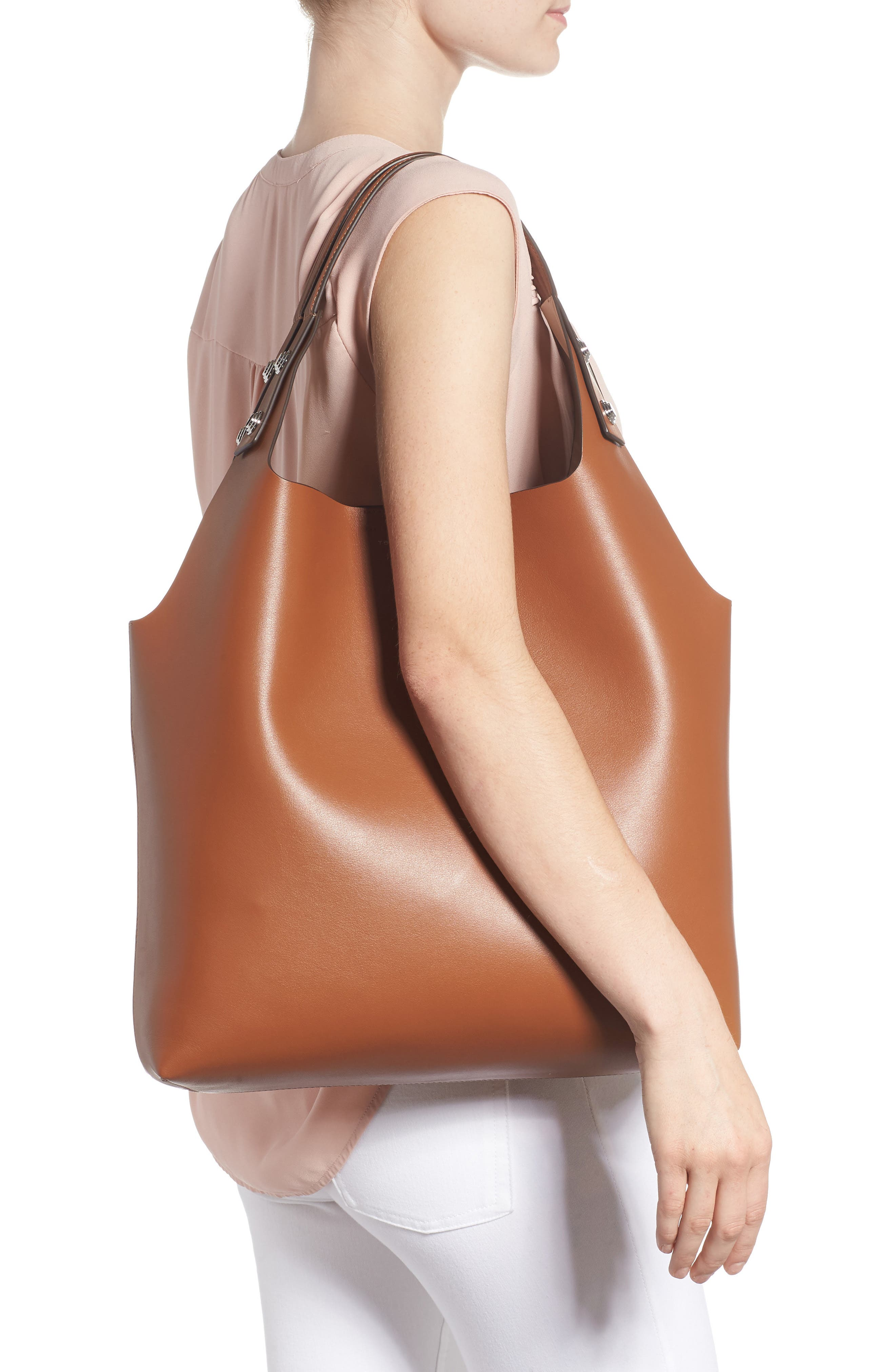 Rory Leather Tote,                             Alternate thumbnail 2, color,                             LIGHT UMBER