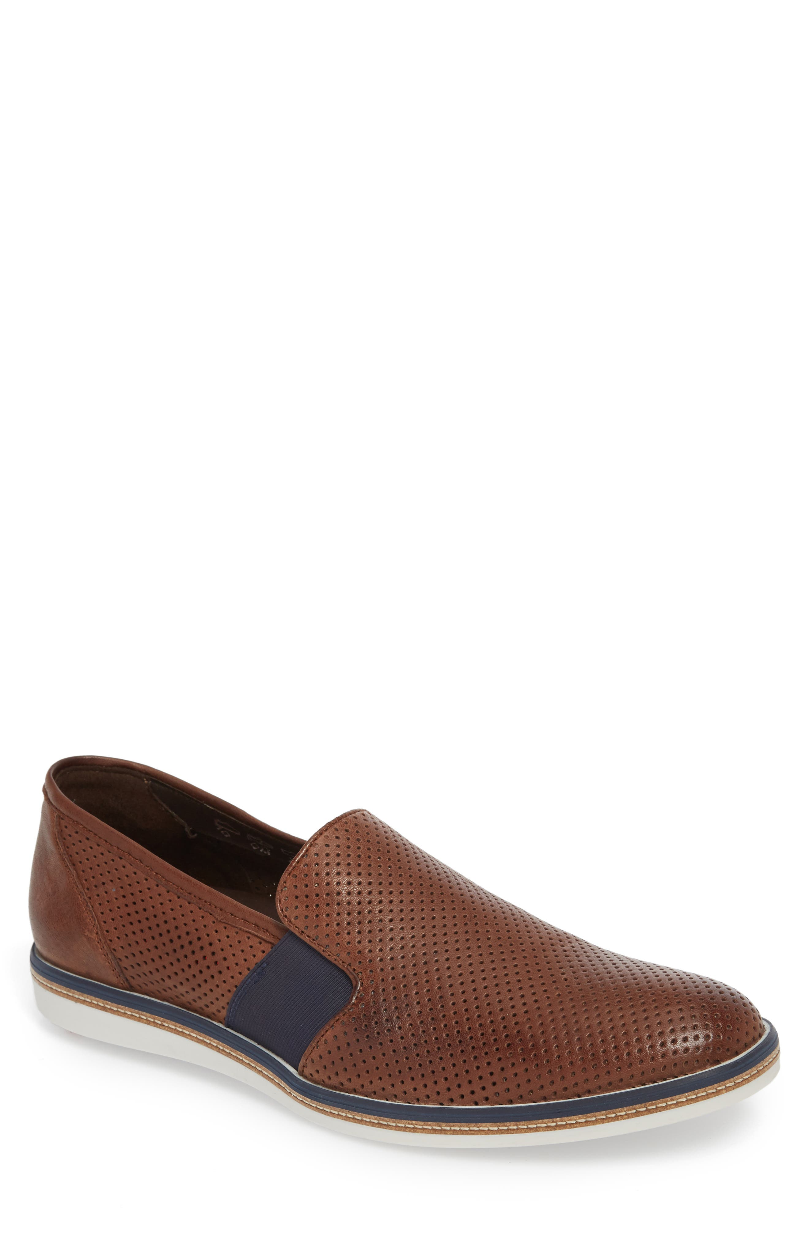 Alister Perforated Loafer,                         Main,                         color, TOBACCO LEATHER