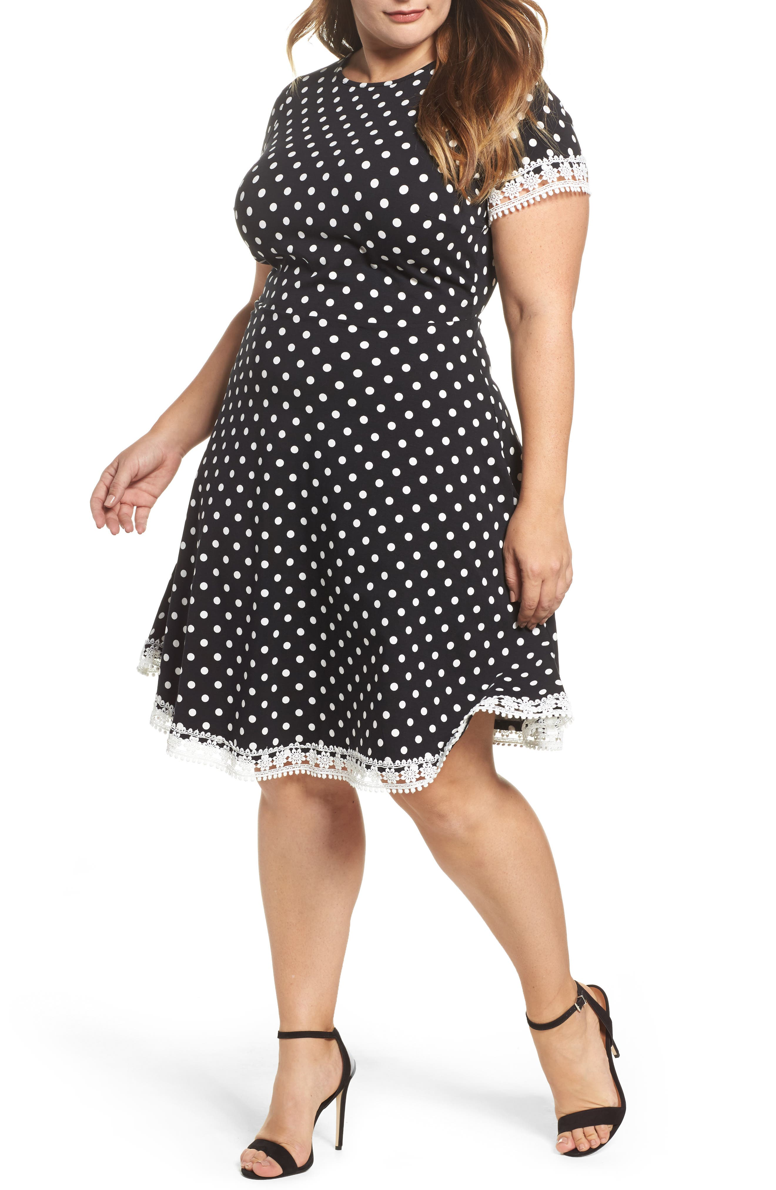 Polka Dot Fit & Flare Dress,                         Main,                         color, 001