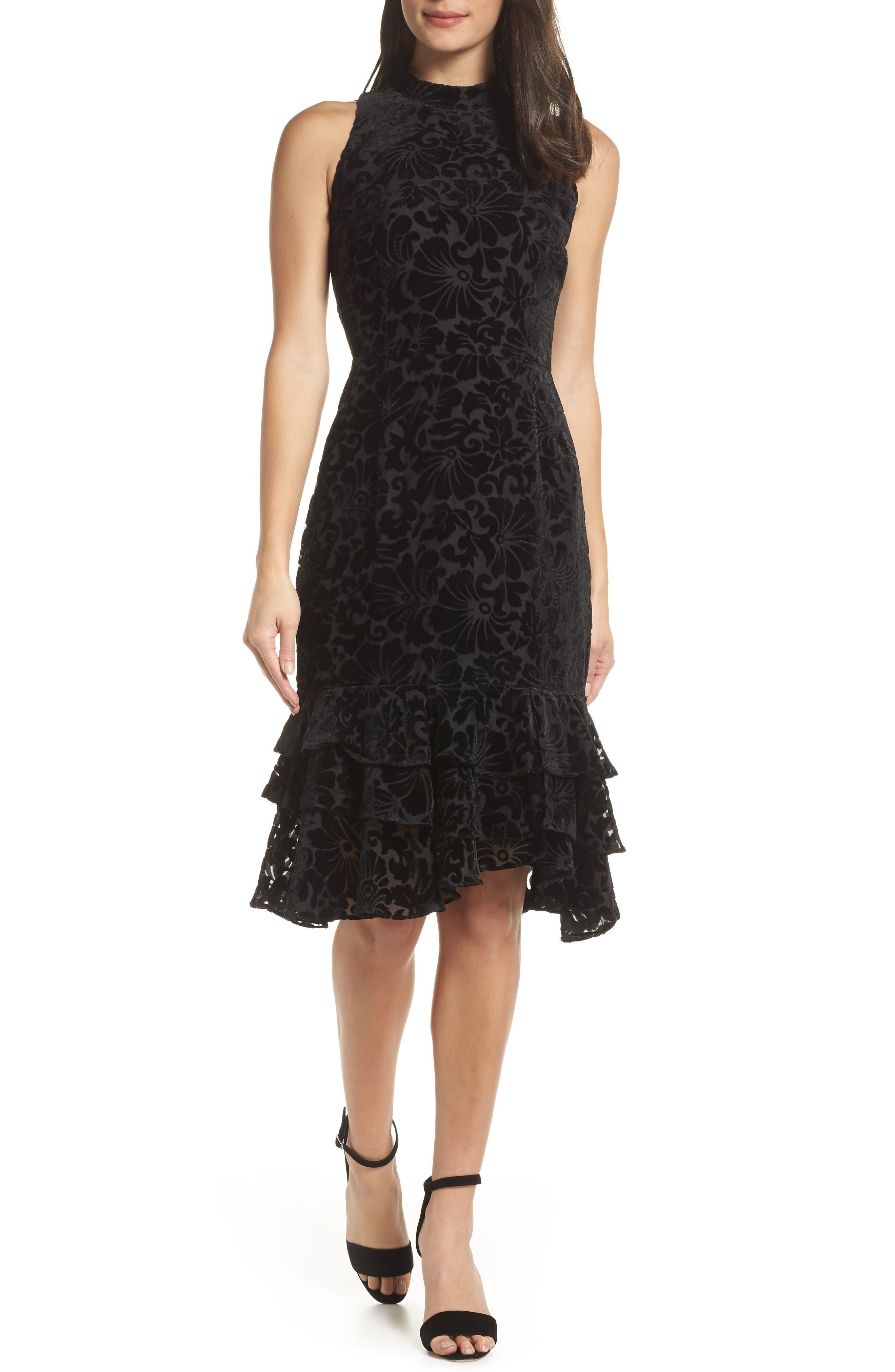 Burnout Velvet Sheath Dress,                             Main thumbnail 1, color,                             BLACK
