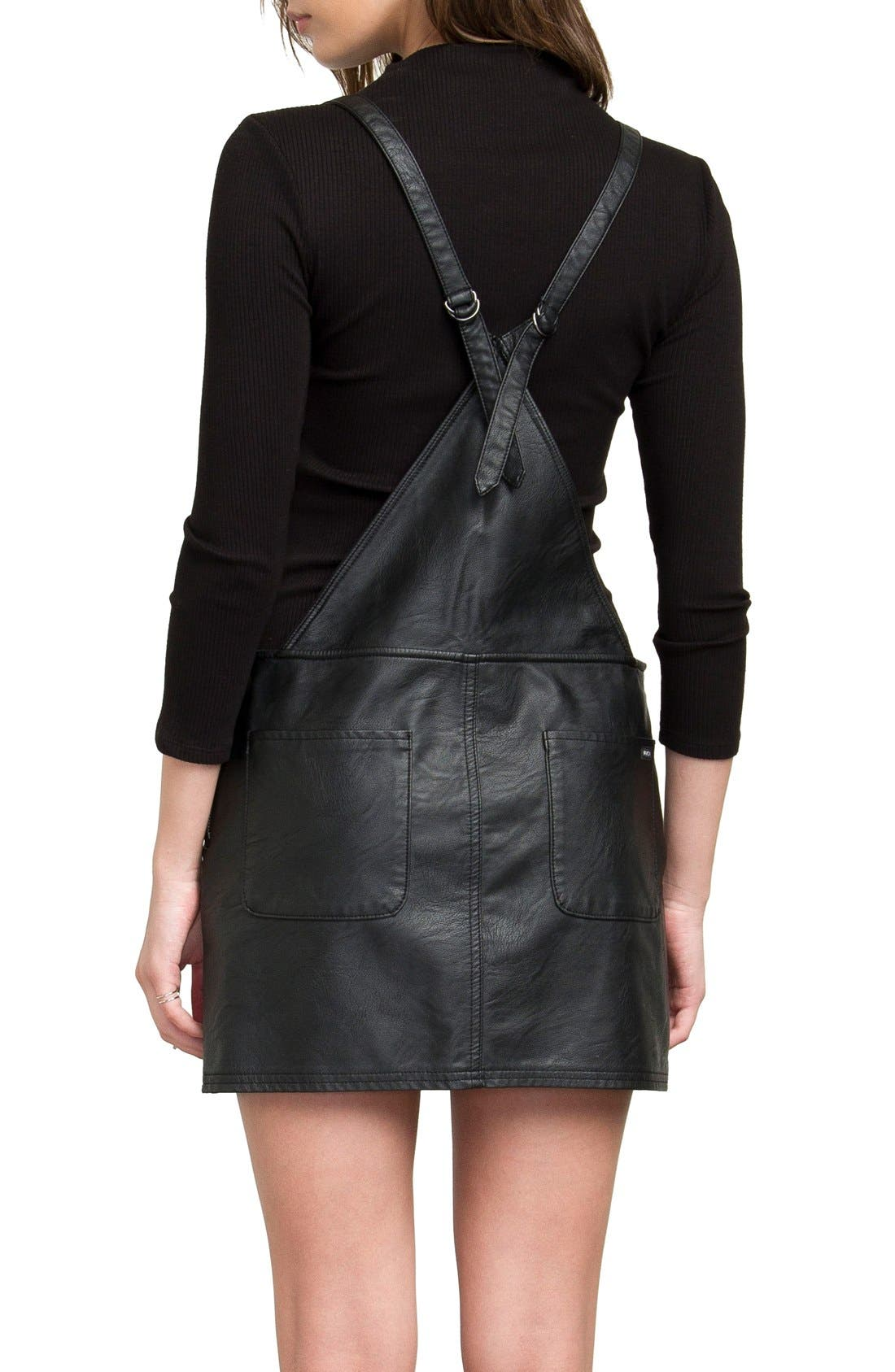 Apologies Faux Leather Pinafore Dress,                             Alternate thumbnail 2, color,                             001