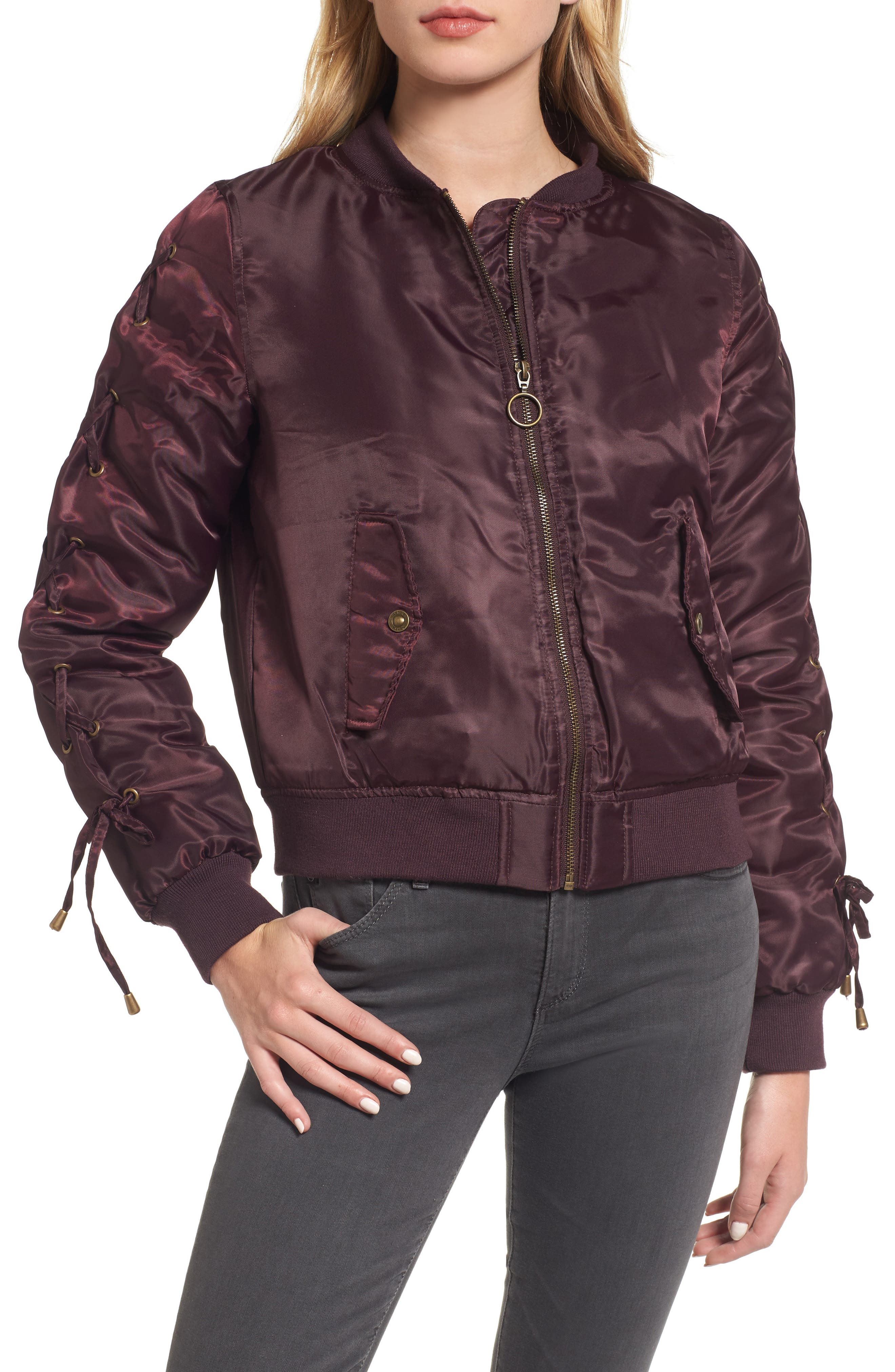 Lace-Up Sleeve Quilted Bomber Jacket,                             Alternate thumbnail 11, color,