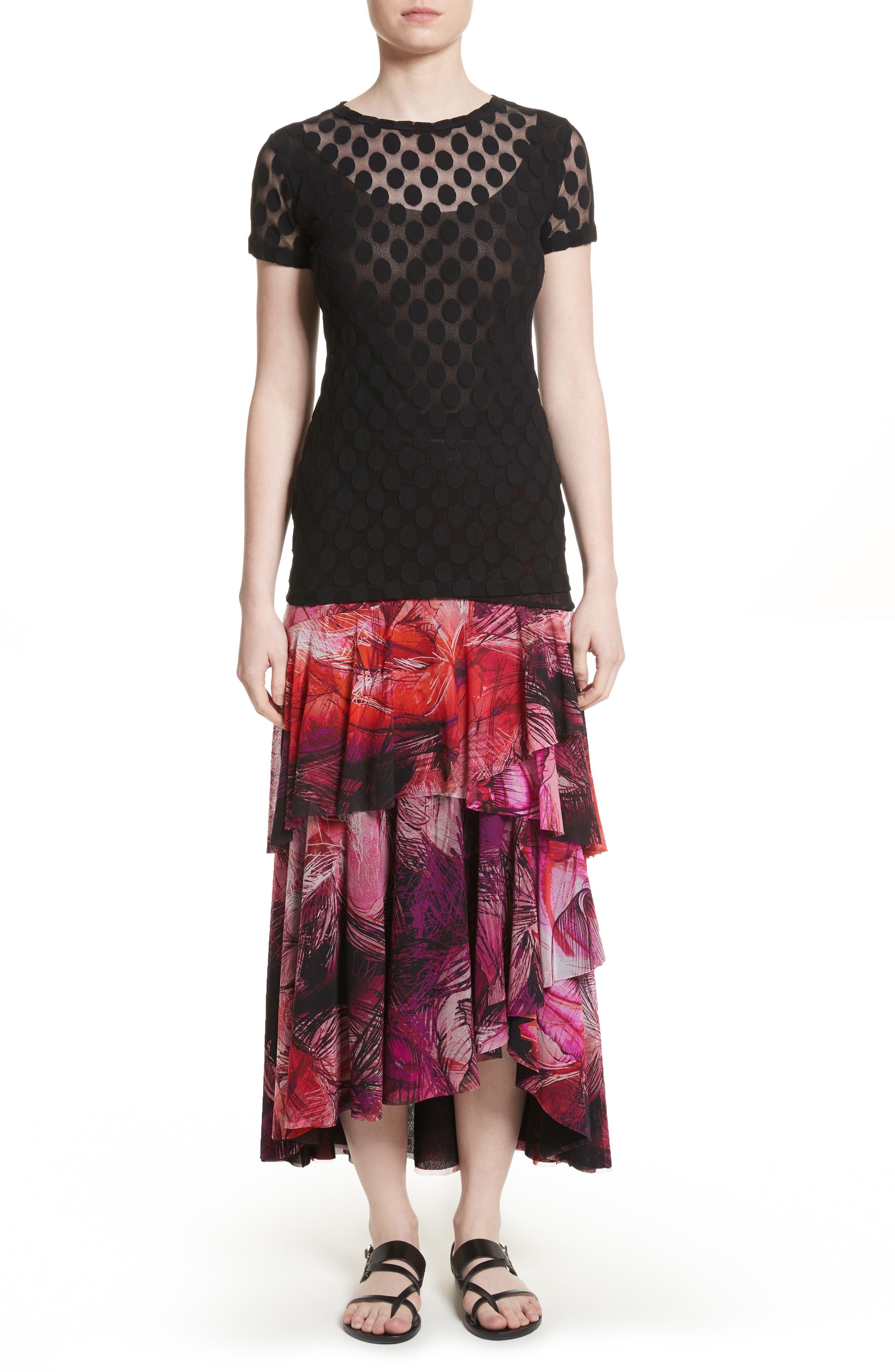 Print Tulle Ruffle Skirt,                             Alternate thumbnail 7, color,                             650