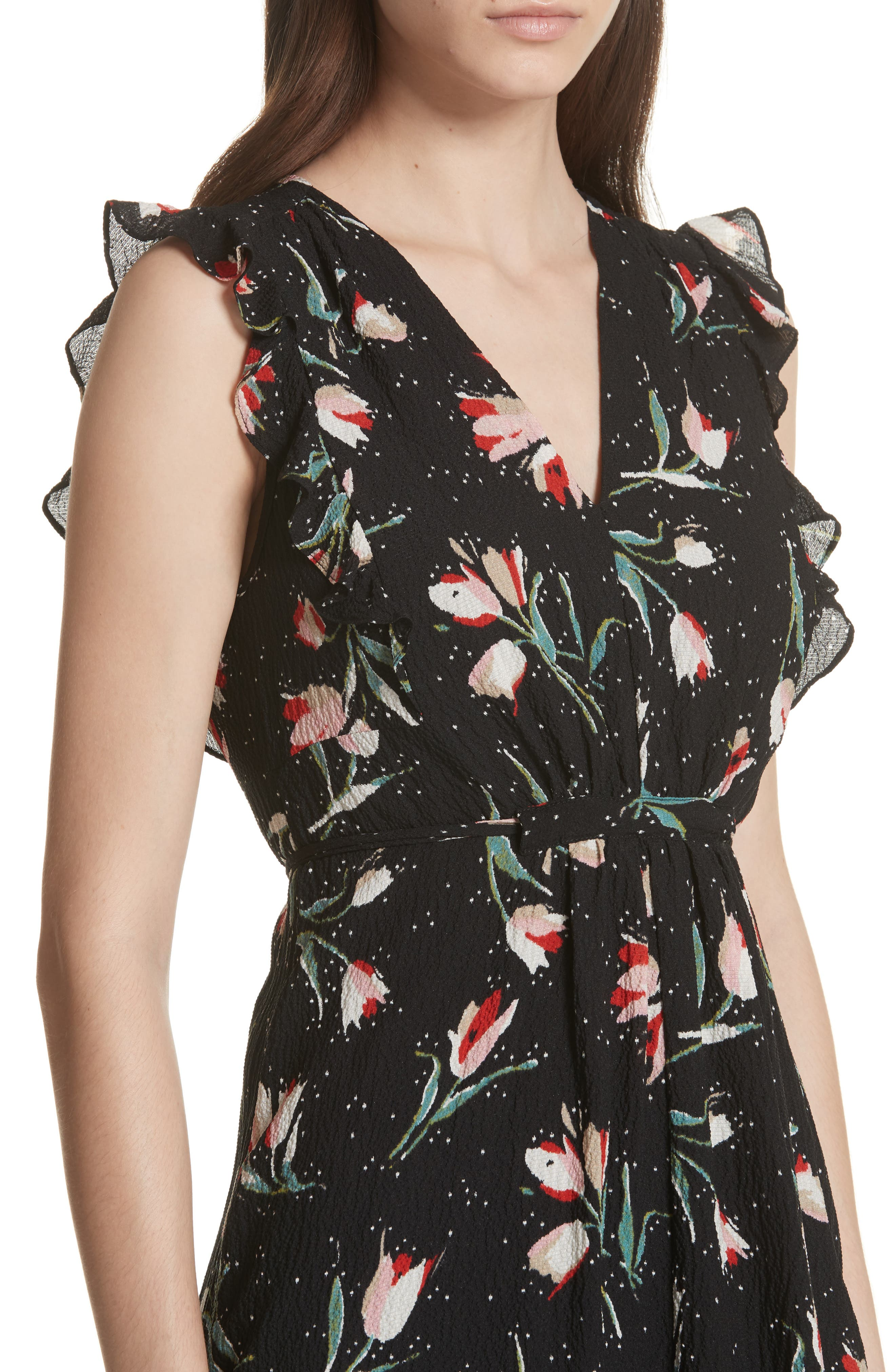 Ruffled Ikat Floral A-Line Dress,                             Alternate thumbnail 4, color,