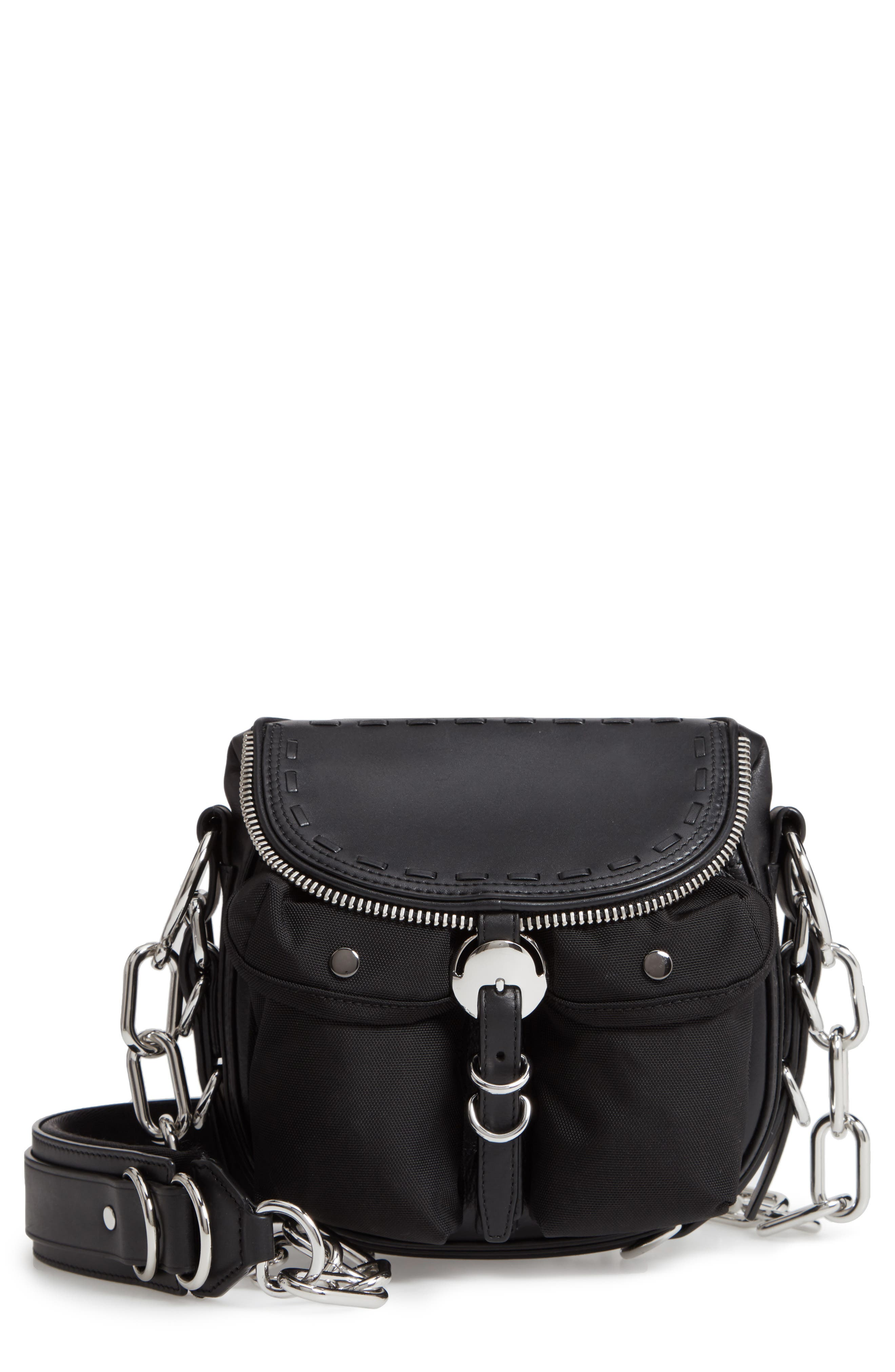 Rove Mixed Media Crossbody Bag,                             Main thumbnail 1, color,                             BLACK